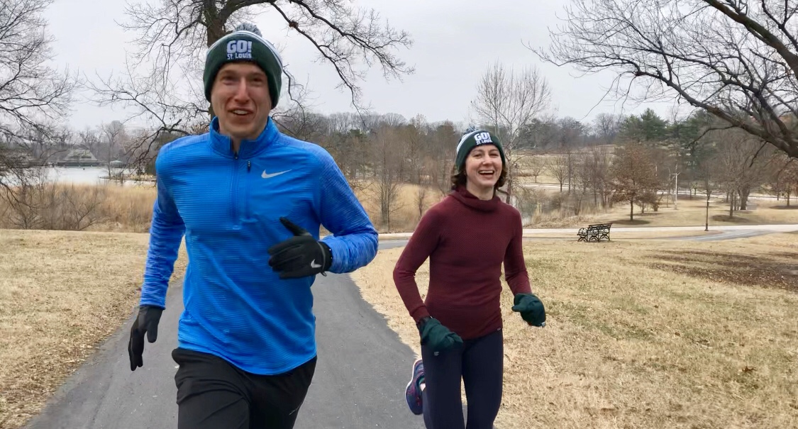 Mark Spewak and Mona Vespa running in Forest Park
