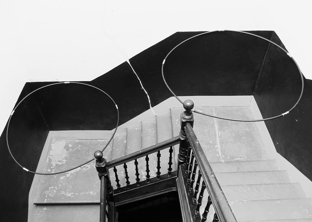 """2 Circles"" (Installation for Glasgow Open House Art Festival) (2014), Robyn Benson. Plastic"