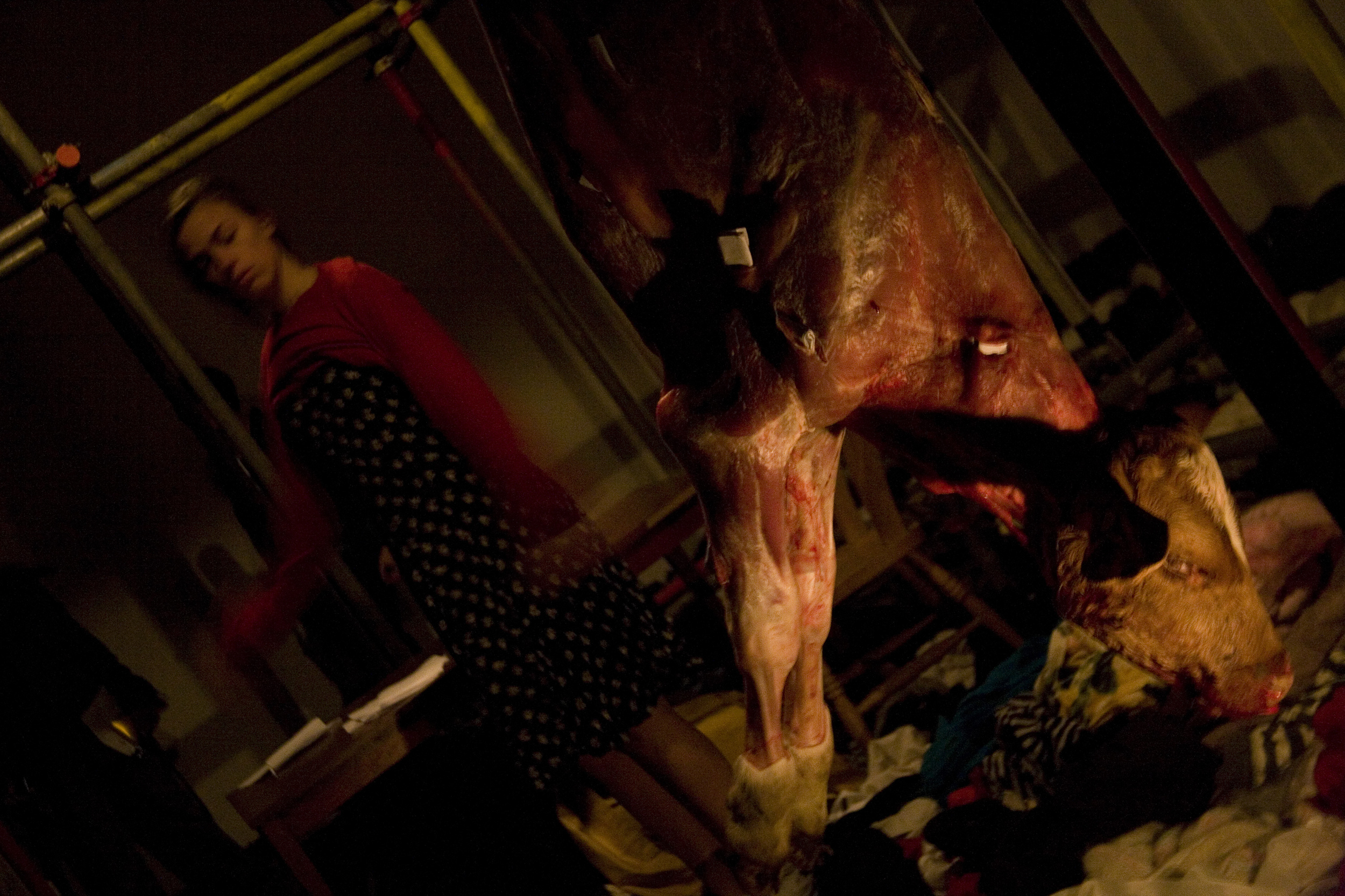 """Eloise Fornieles performing """"Carrion"""" at Paradise Row Gallery in London, United Kingdom in 2008. Photograph by David Birkin"""