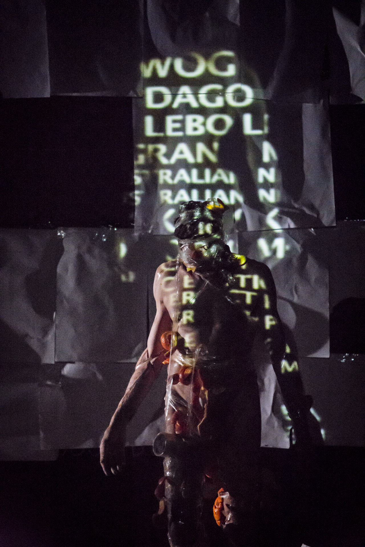 """Christos Linou performing """"Naked Peel"""" in Melbourne, Australia in 2014. Photograph by Lucia Rossi"""