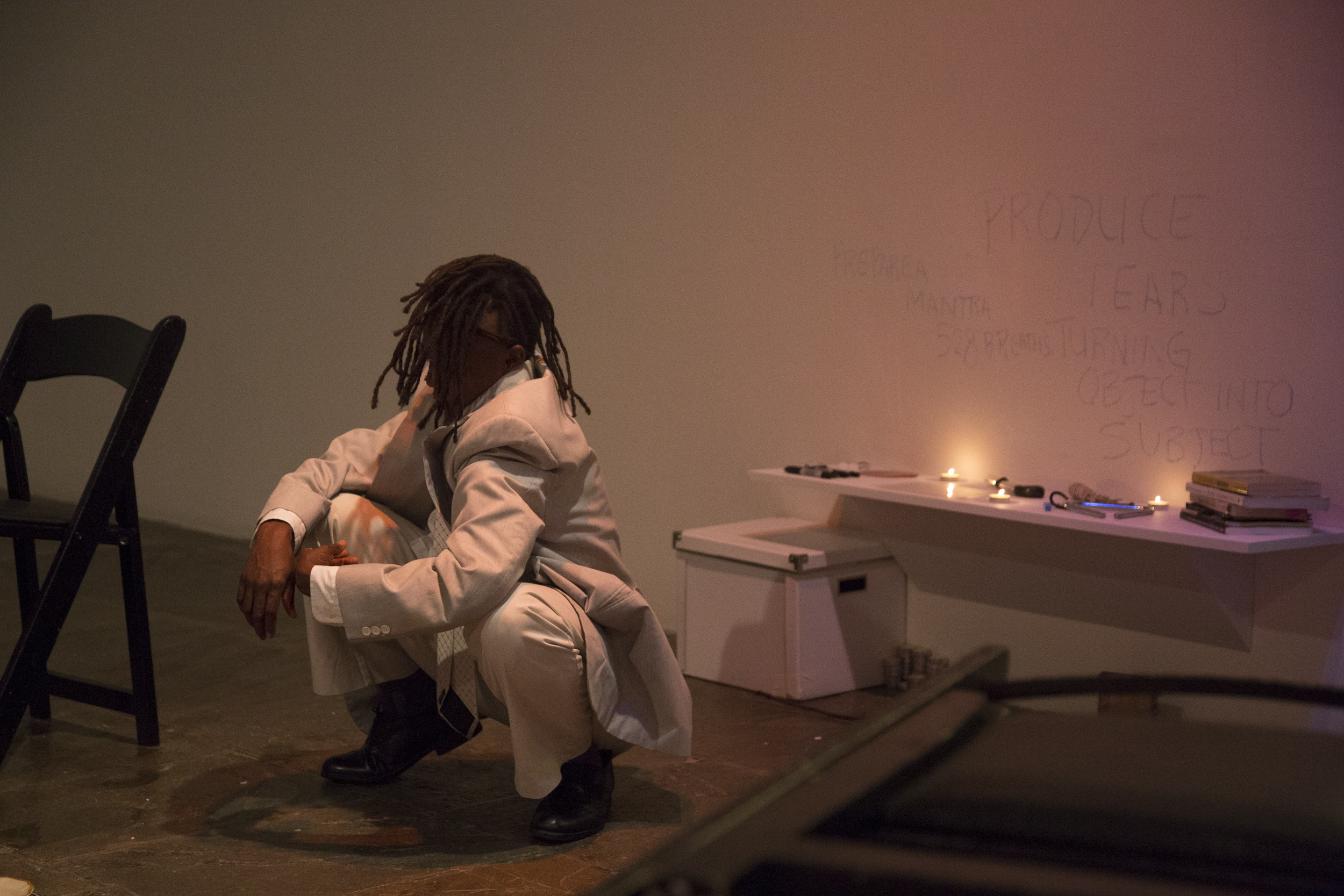 "taisha paggett performing ""Underwaters (we is ready, we is ready) at the Whitney Biennale in New York City in 2014. Photograph by Ashley Hunt"