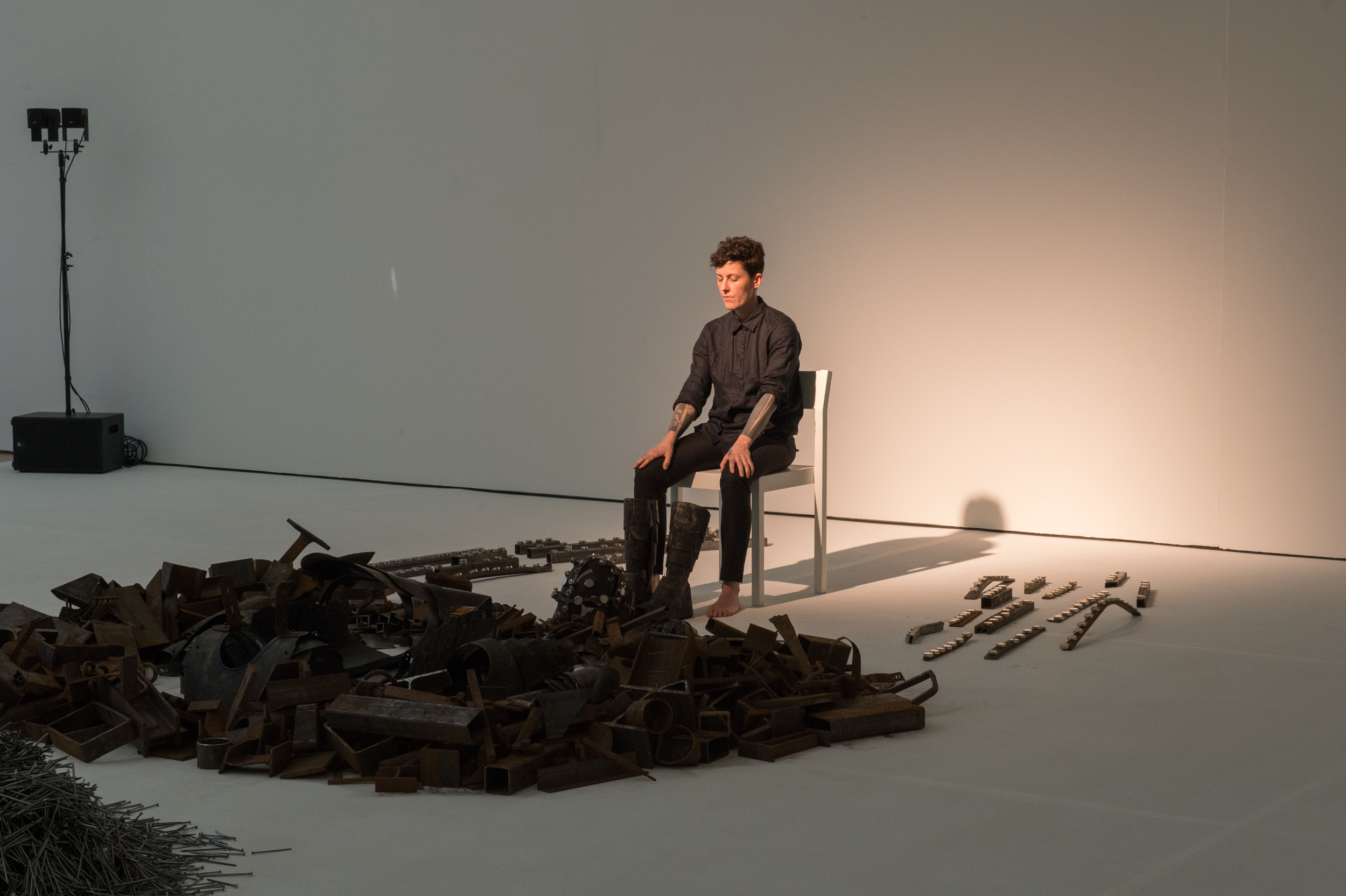 """Paula Garcia performing """"#8 (Noise Body Series)"""" at  The Beyeler Foundation in  Basel, Switzerland in 2014. Photograph courtesy of the artist"""
