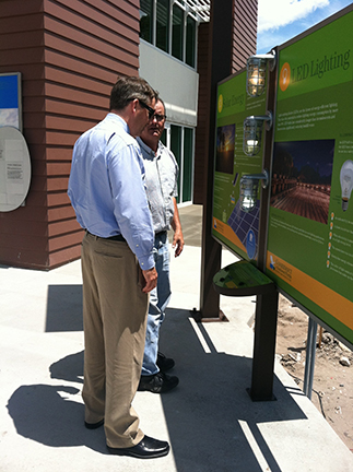 The Eva Sugden Gomez Sustainability Plaza educates visitors on ways to conserve energy and build with less impact on the environment.