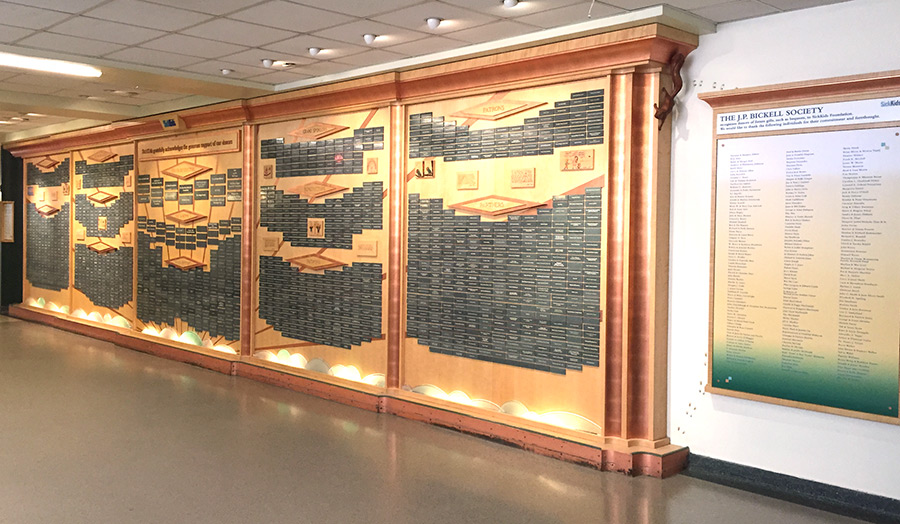 Donor recognition display, Hospital for Sick Children, Toronto, ON