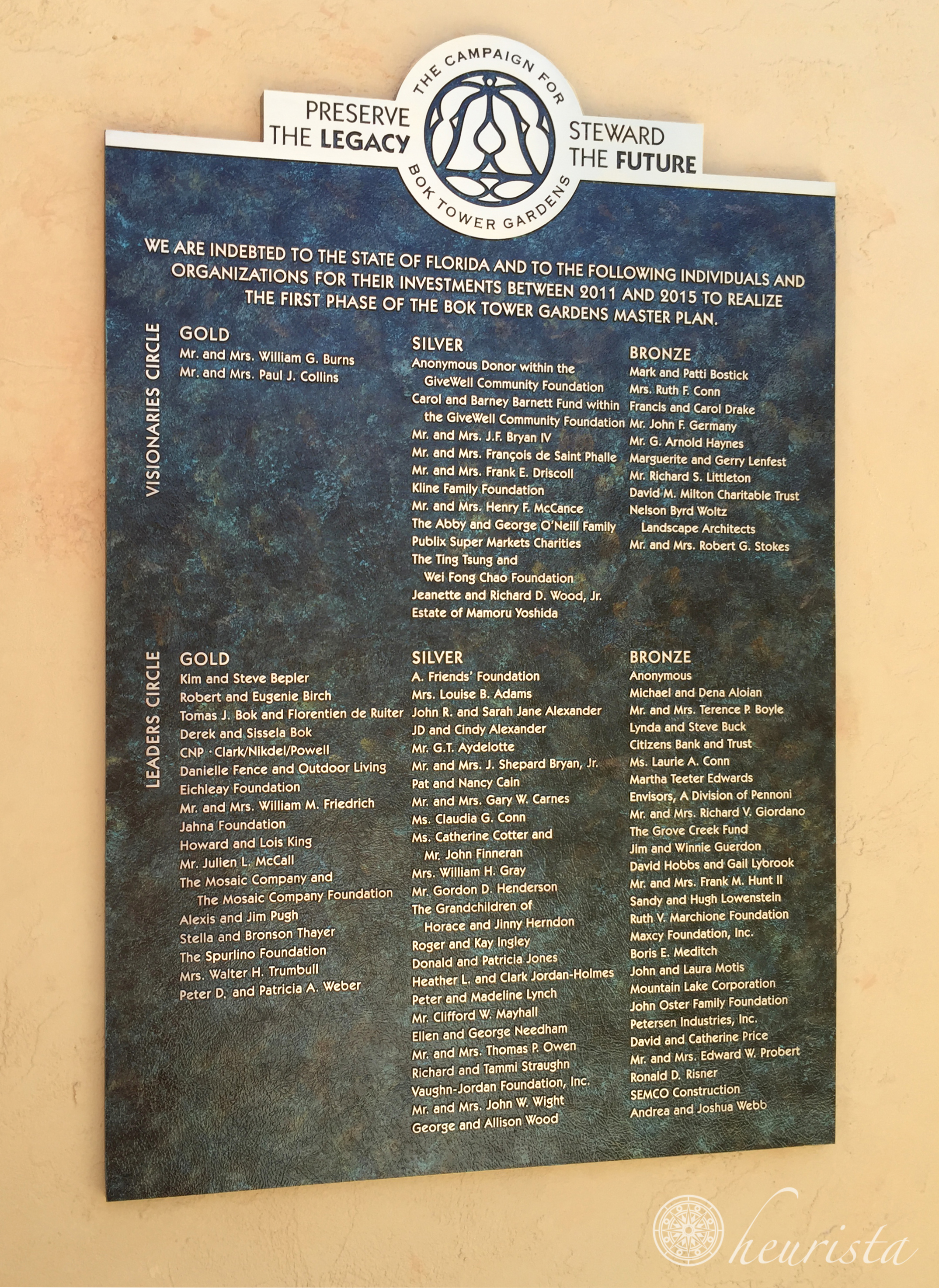 Bok Tower Gardens, Donor Recognition