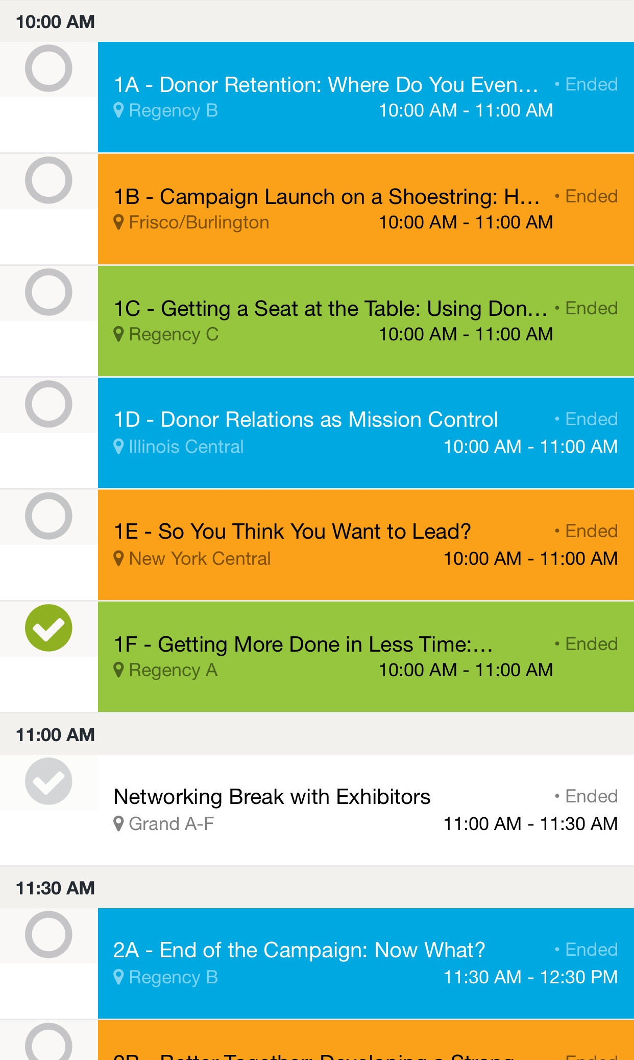 """Under the """"Schedule"""" tab, sessions were easy to view and select, making scheduling a cinch!"""