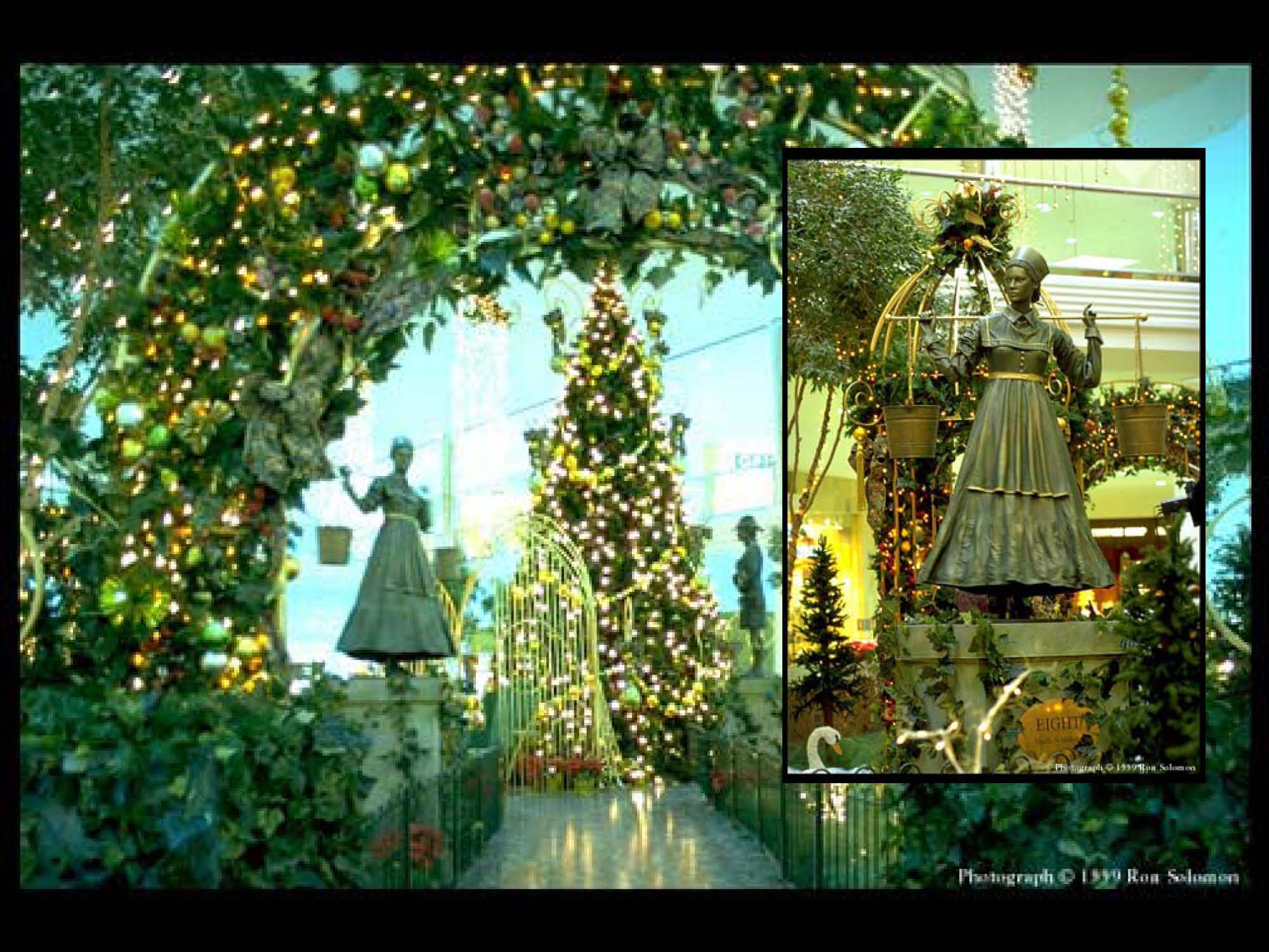 Immersive experience based on the 12 Days of Christmas tradition. Made from PVC greenery, fiberglass, fabrics, steel. Entire installation 40' x 40' with additional hanging elements overhead. Installation was intended to create a new immersive way to recognize the Giving Season.