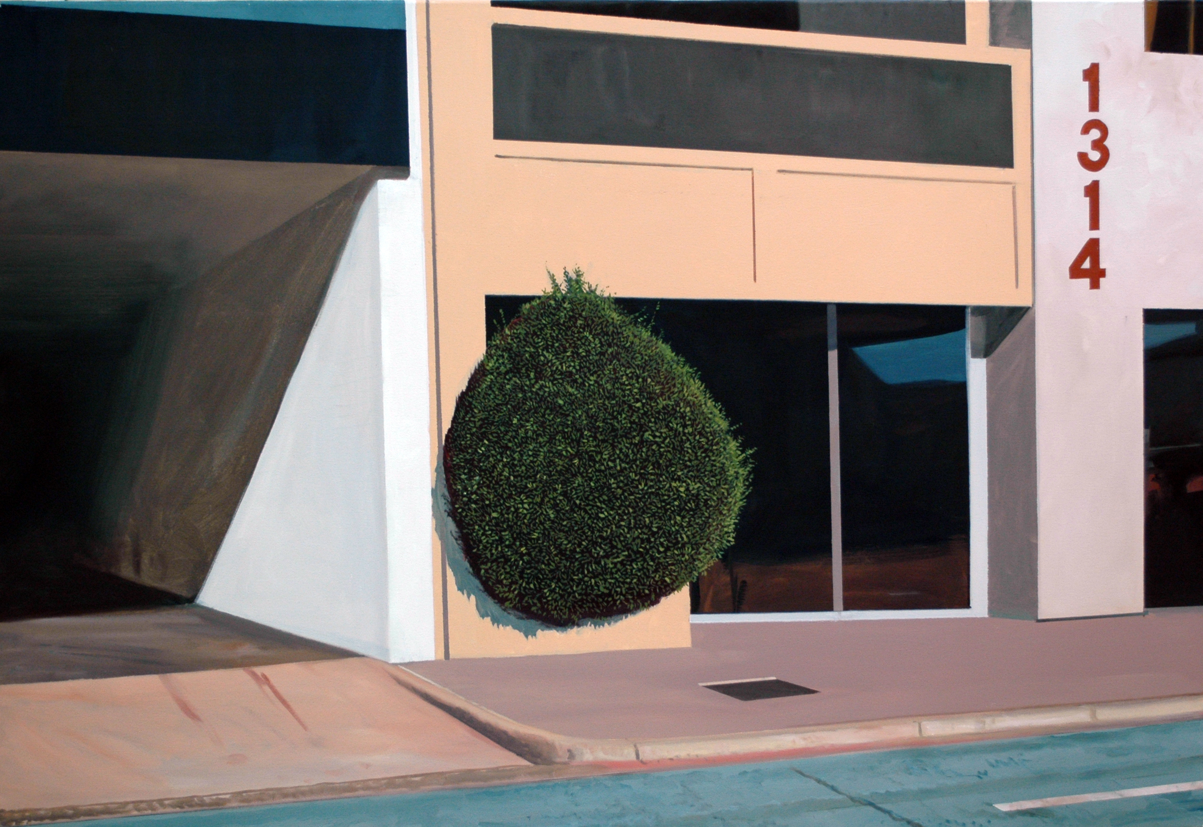 "Daniel Blagg,  Corporate Shrub,  oil on canvas, 36 x 52"" $9,500.  Contact Artspace111 to purchase."