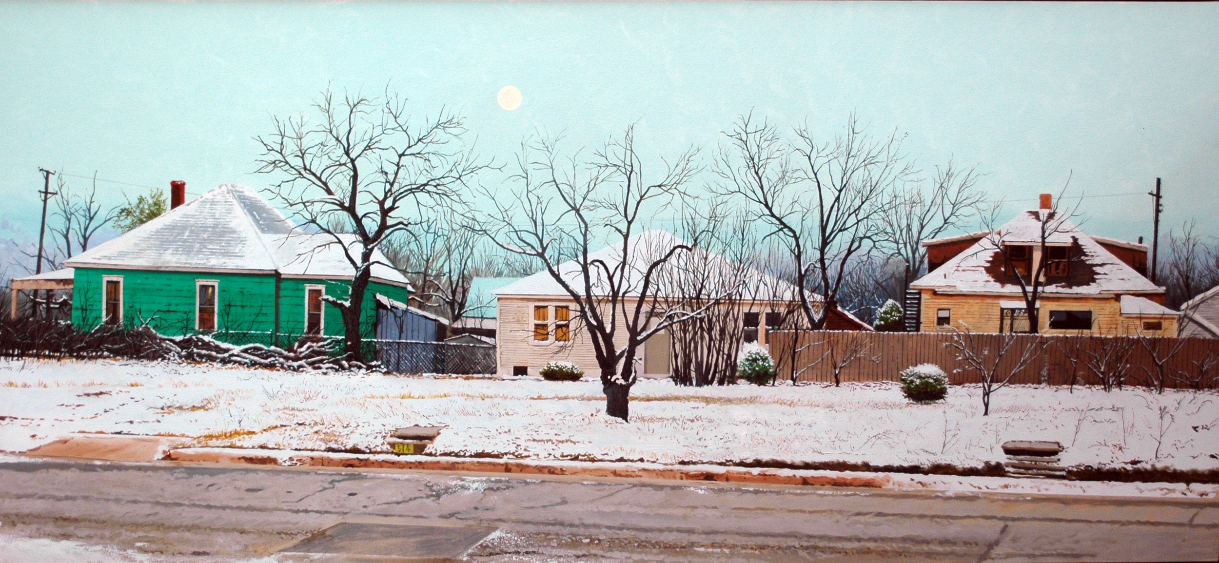 """Daniel Blagg,  Winter Solstice,  oil on canvas, 32 x 67"""" $10,000. Contact Artspace111 to purchase."""