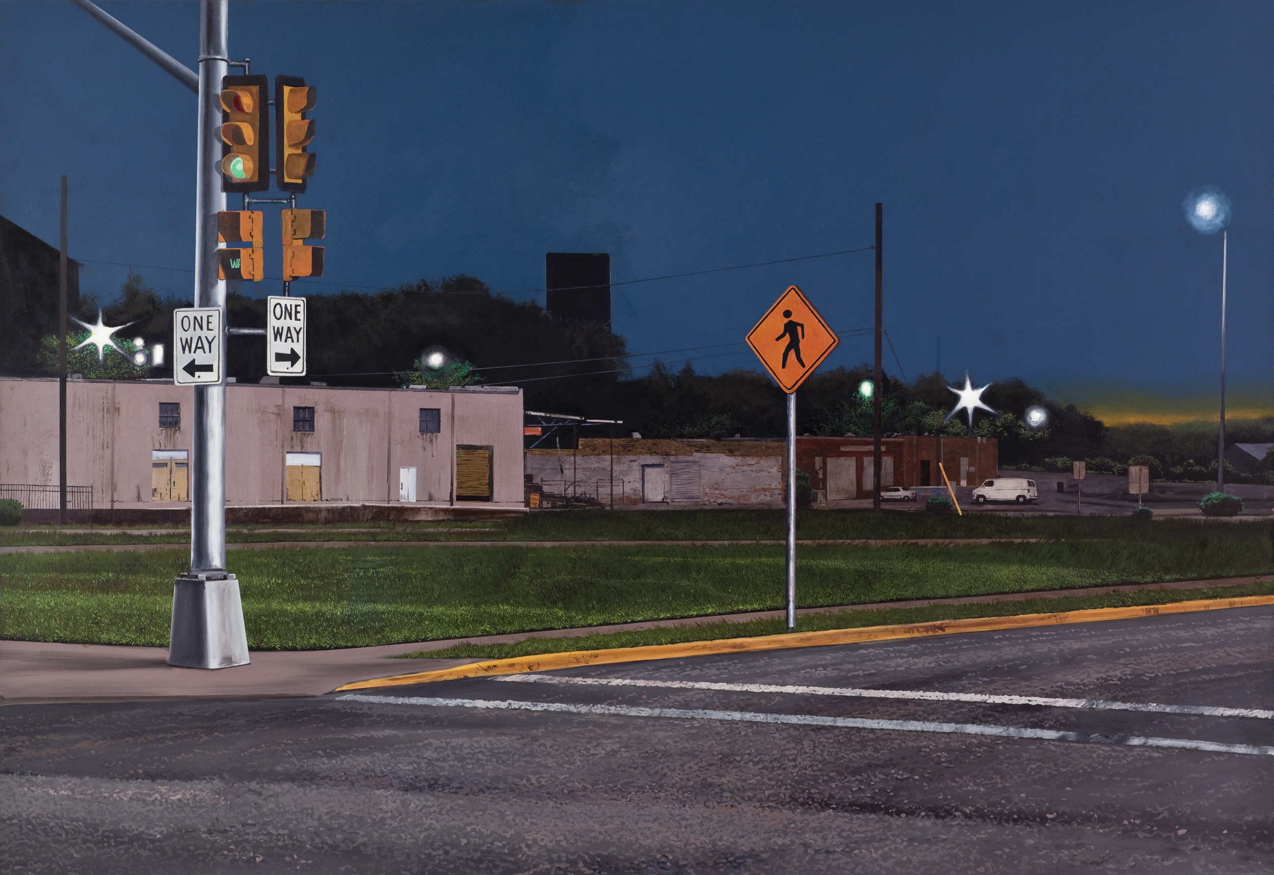 """Daniel Blagg,  Night Walker,  oil on canvas, 60 x 90"""" $16,000. Contact Artspace111 to purchase."""