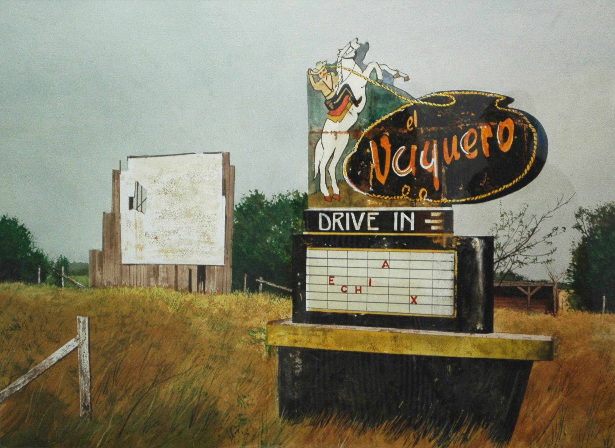 "Daniel Blagg,  The Picture Show,  watercolor on paper, 27 1/2 x 35"" SOLD."