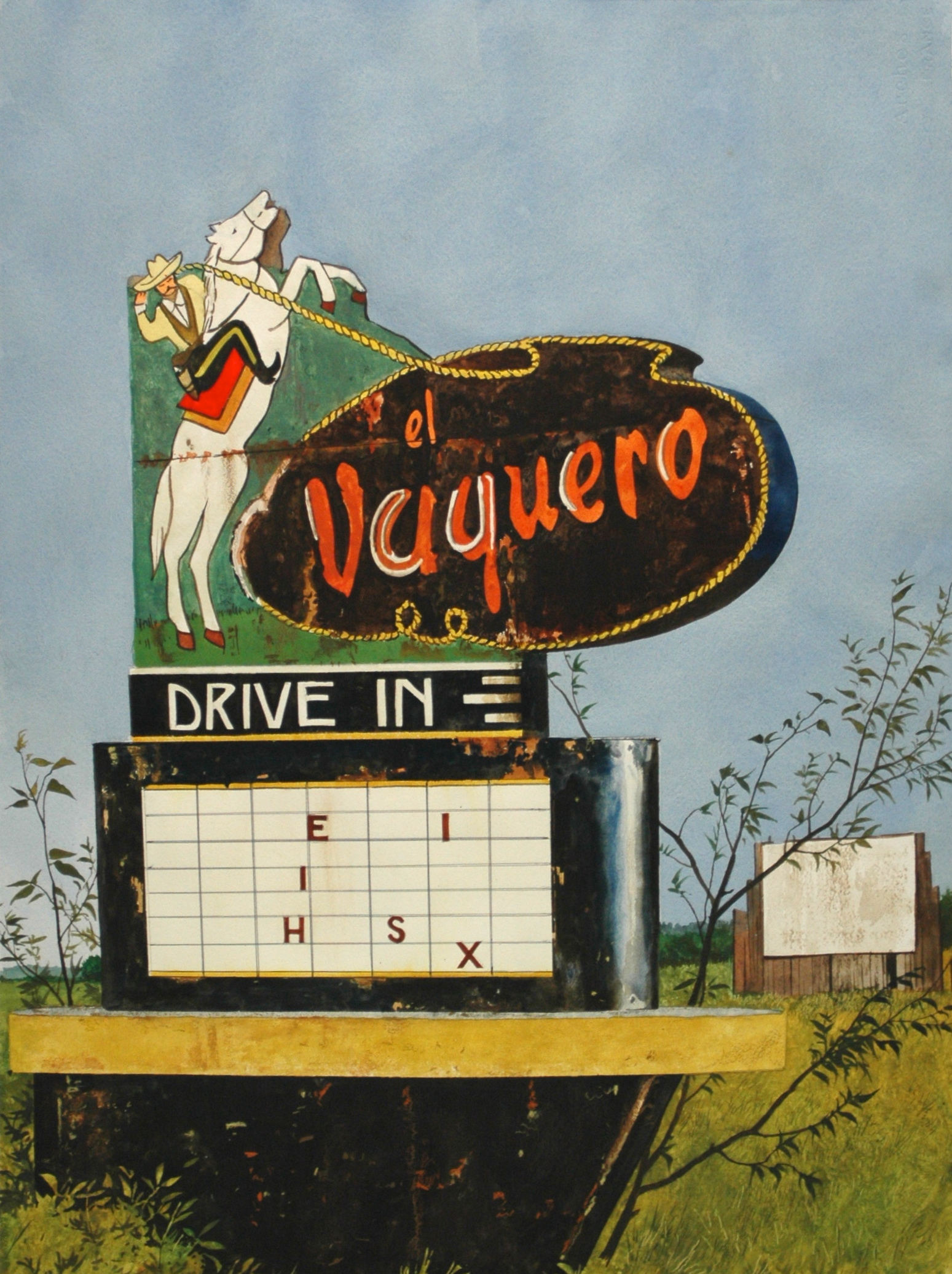 "Daniel Blagg,  Drive In Movie,  watercolor on paper, 35 x 27 1/2"" SOLD."