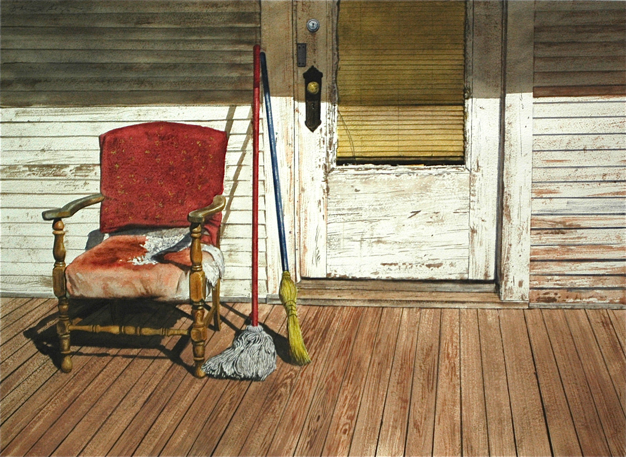 "Daniel Blagg,  Clean Up Day , watercolor on paper, 27 1/2 x 35"" SOLD."
