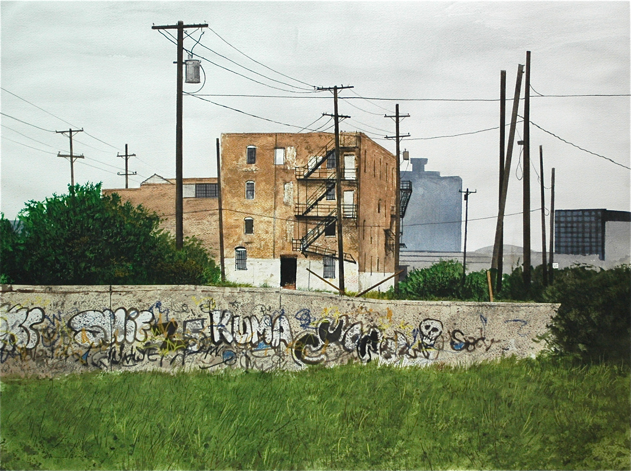 "Daniel Blagg,  Study for No Man's Land , watercolor on paper, 27 1/2 x 35"" SOLD."