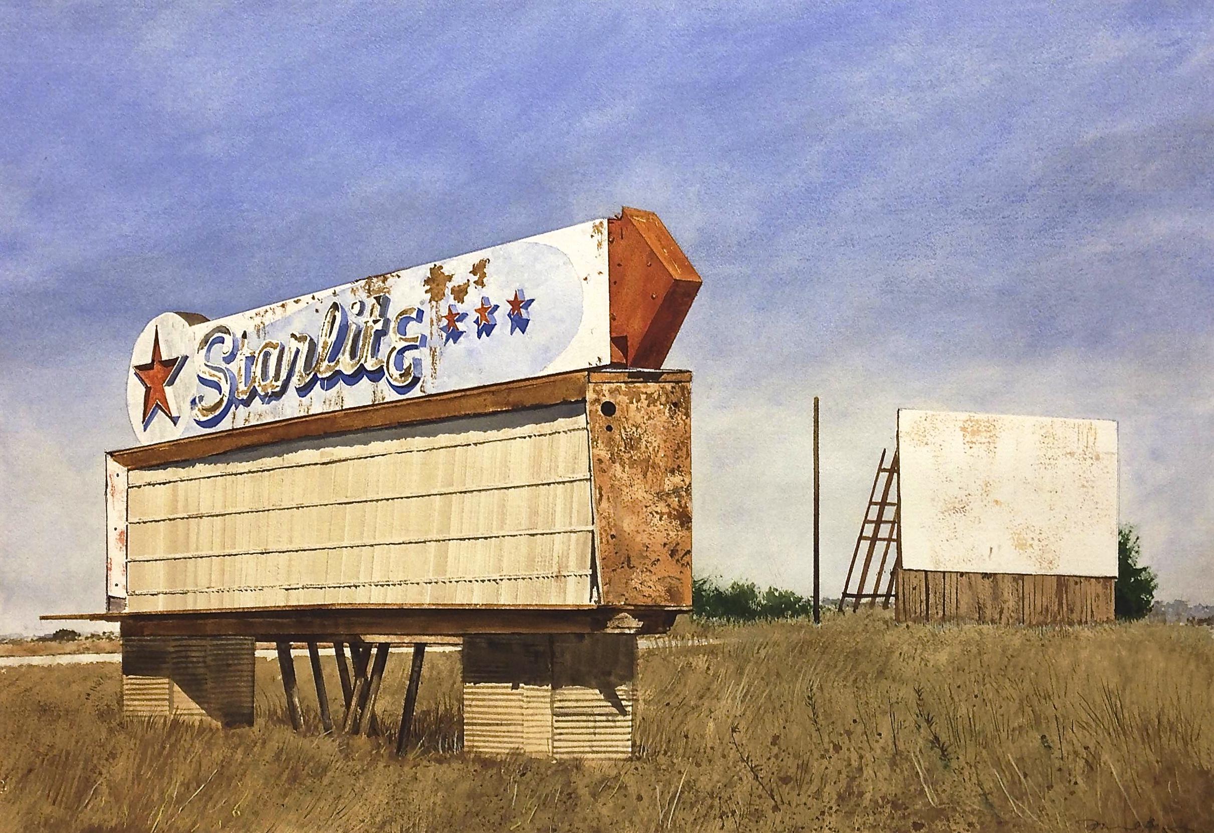 """Daniel Blagg,  Starlite Drive-In , watercolor on paper, 20 x 29"""". SOLD."""