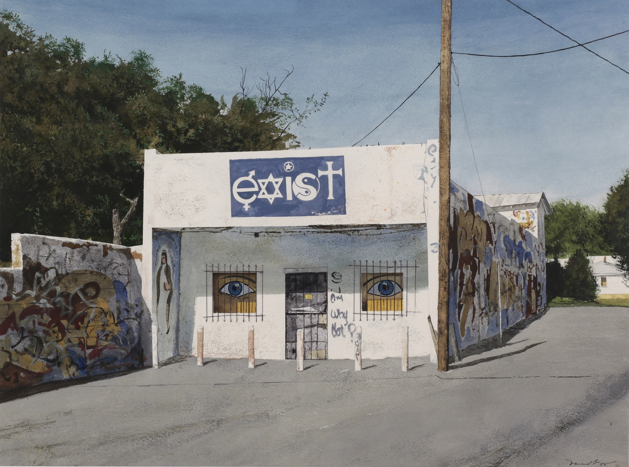 "Daniel Blagg, House of the Existentialist, 2012, watercolor on paper, 27 1/2 x 35"". Private Collection, Fort Worth, TX."