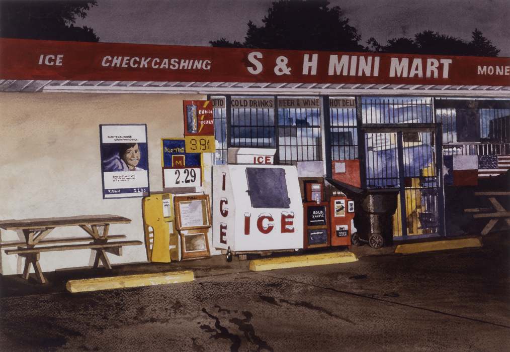 "Daniel Blagg, Mini Mart, 2007, watercolor on paper, 14 x 20"". Private Collection, Fort Worth."