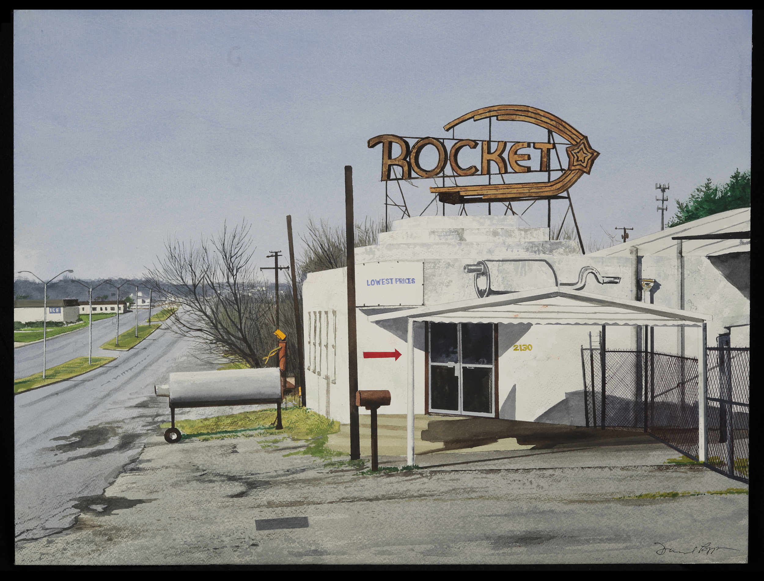 Daniel Blagg, The Rocket, 2009, watercolor on paper. Private Collection, Fort Worth, TX.