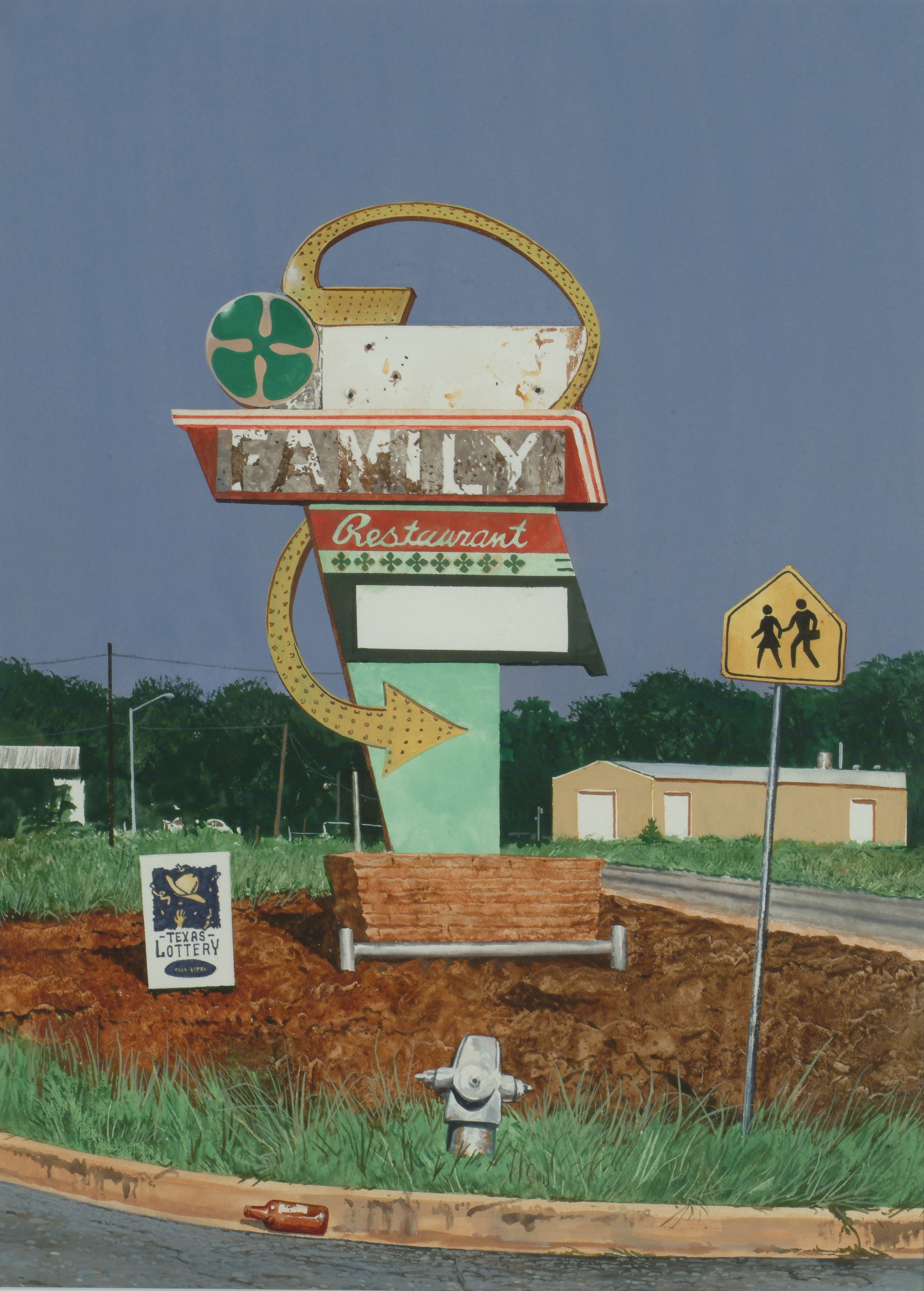 "Daniel Blagg, Family Values, 2005, watercolor on paper, 30 x 22"". Private Collection, Fort Worth, TX."