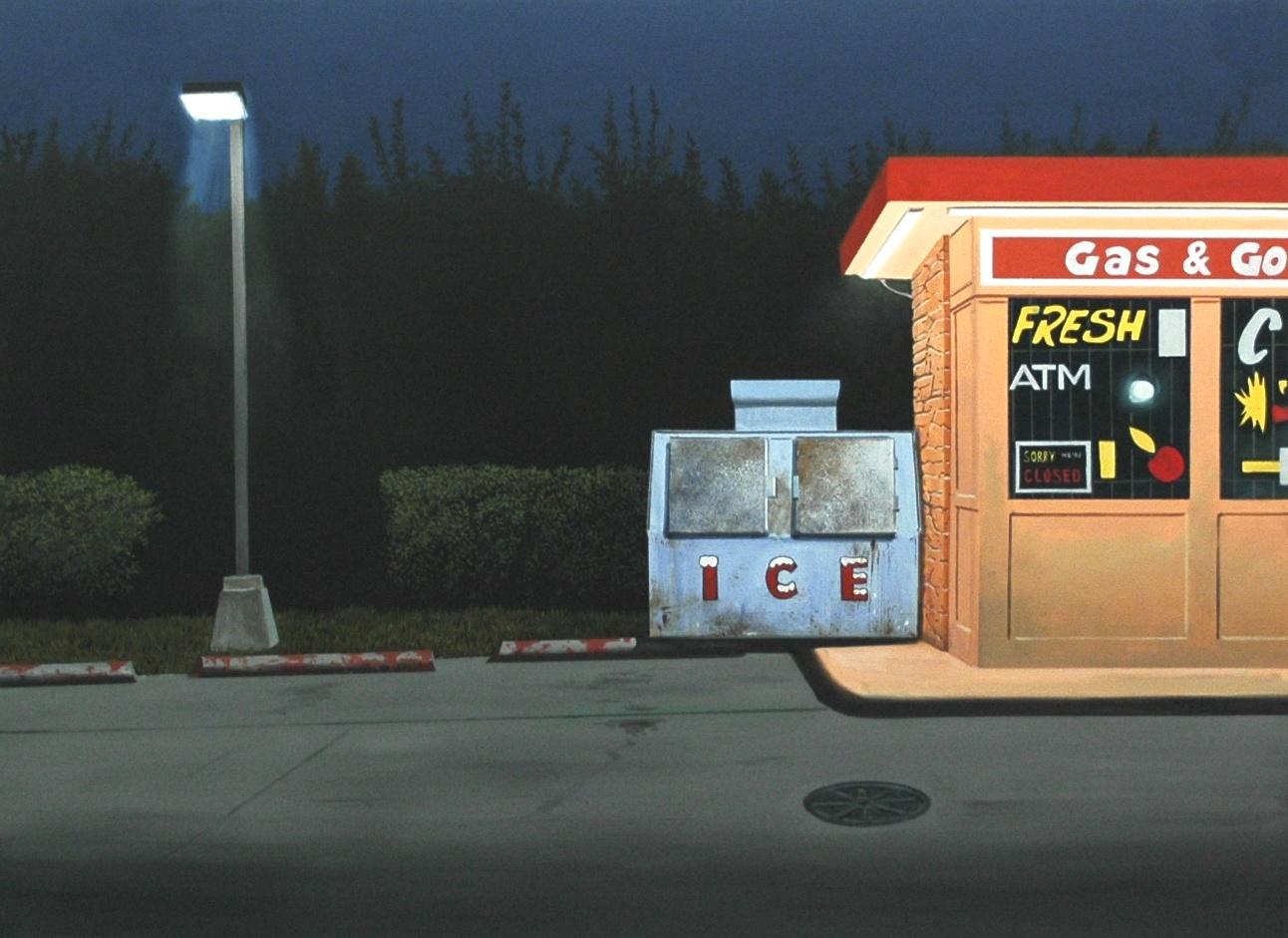 """Daniel Blagg, Gas & Go, 2013, oil on canvas, 38 x 52"""". Private Collection, Dallas, TX."""