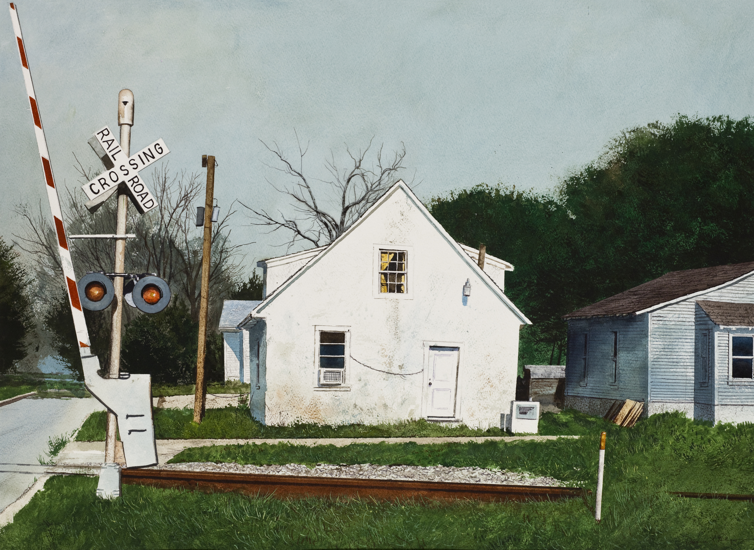 "Daniel Blagg, House By The Railroad, 2012, watercolor on paper, 27 1/2 x 35"". Private Collection, Fort Worth, TX."