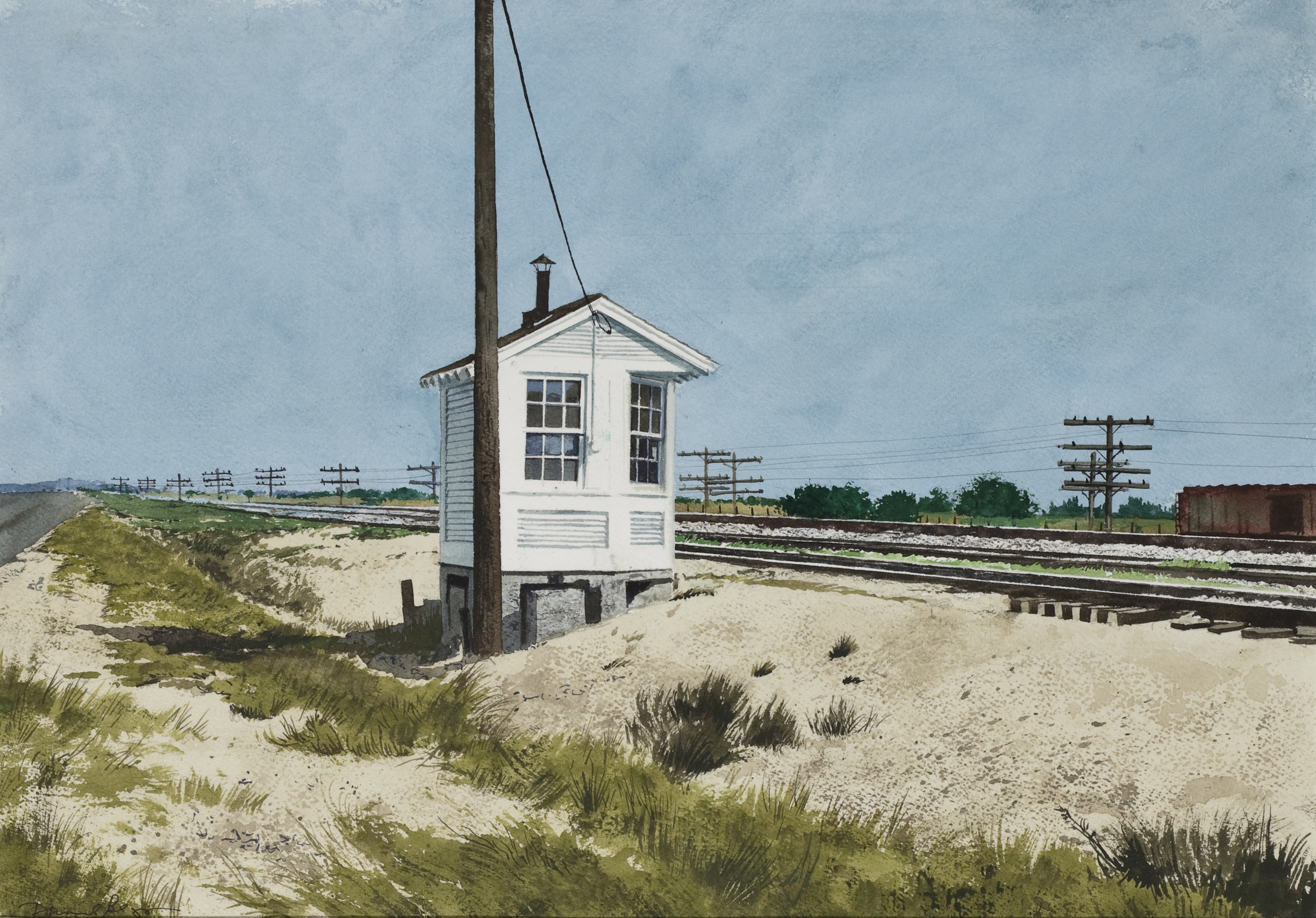 "Daniel Blagg, Switchman's Shack, 2012, watercolor on paper, 20 1/2 x 28"". Private Collection, Fort Worth, TX."