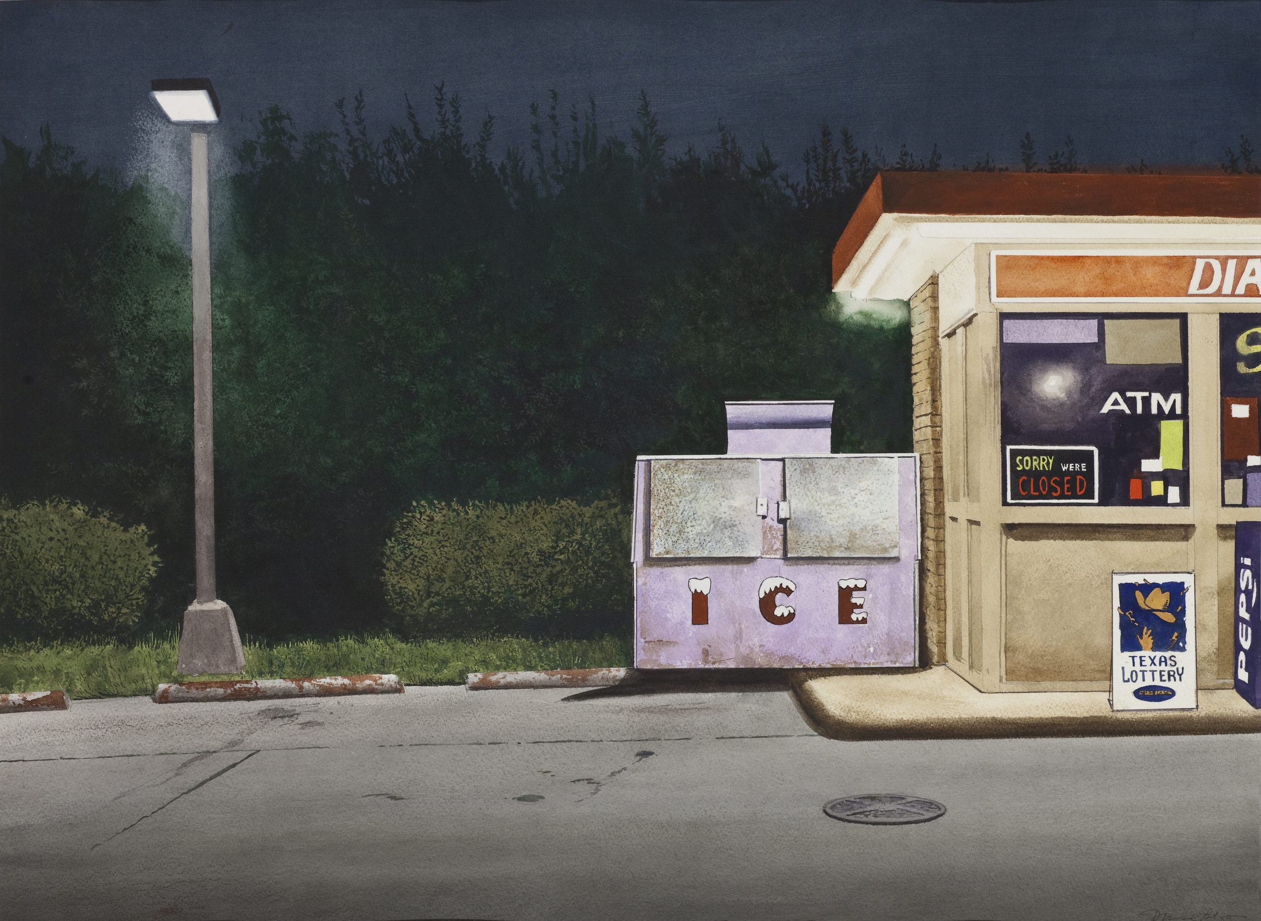 "Daniel Blagg, Night Ice, 2012, watercolor on paper, 27 1/2 x 35"". Private Collection, Fort Worth, TX."