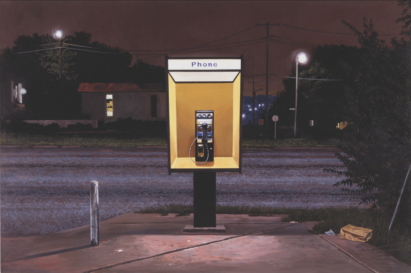 "Daniel Blagg, Pay Phone 2, 2001, oil on canvas, 40 x 60"". Private Collection, Los Angeles, CA."