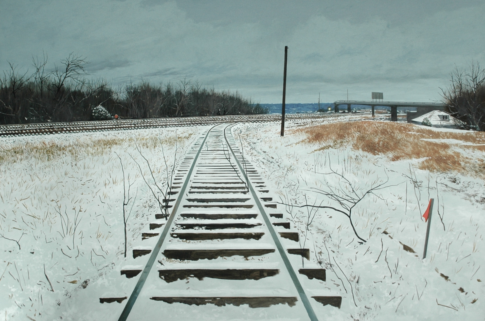 "Daniel Blagg, Switch Track, 2009, oil on canvas, 60 x 40"".  In the collection of Bates Container, Fort Worth, TX."