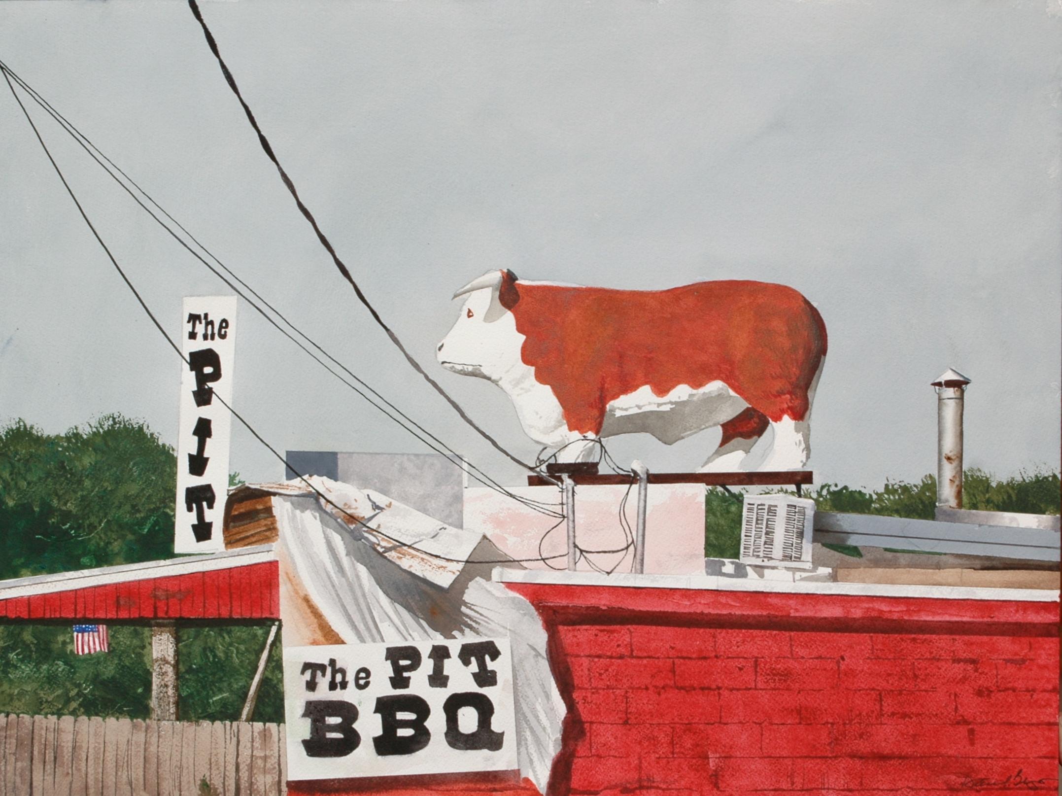 """Daniel Blagg, BBQ Bull, 2011, watercolor on paper, 18 x 25"""". Private Collection, Dallas, TX."""