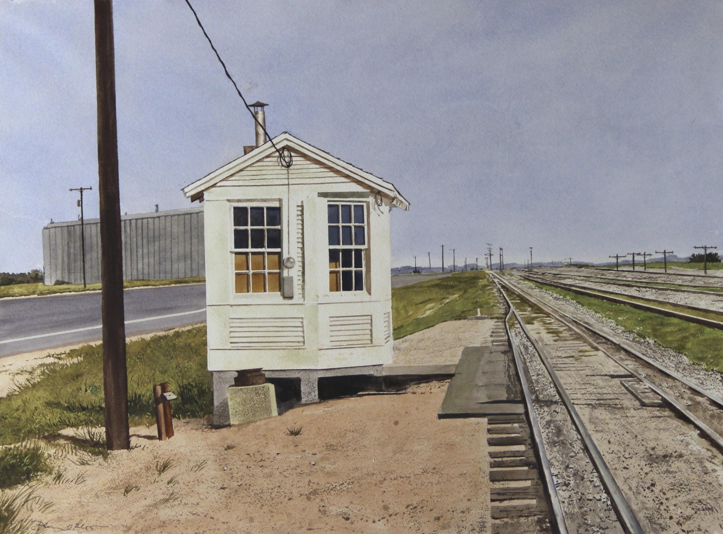 "Daniel Blagg,  Railroad Shack , 2013, watercolor on paper, 27 1/2 x 35"" SOLD."