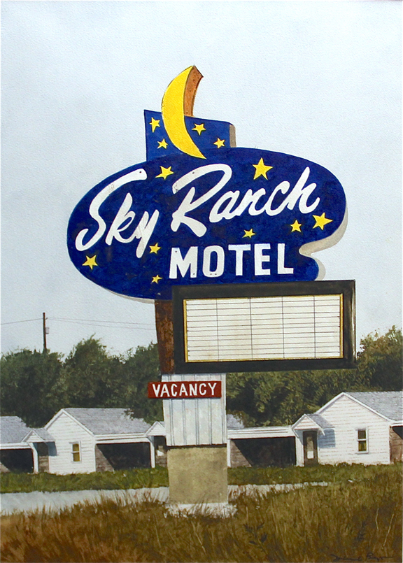 "Daniel Blagg,  Sky Ranch Motel,  watercolor on paper, 35 x 27 1/2"". SOLD."