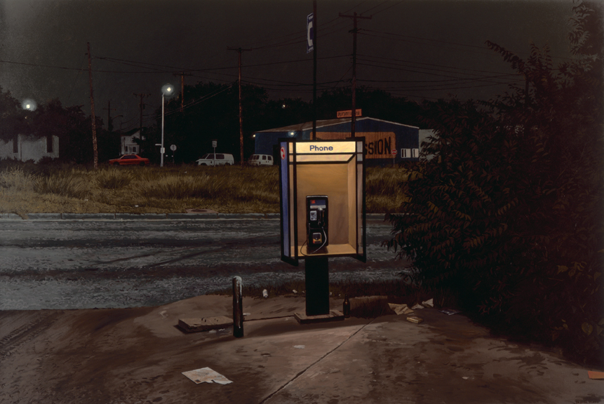 """Daniel Blagg,  Pay Phone 1 , 1997, oil on canvas, 60 x 90"""". In the collection of the Museum of the South East, Corpus Christi, TX"""