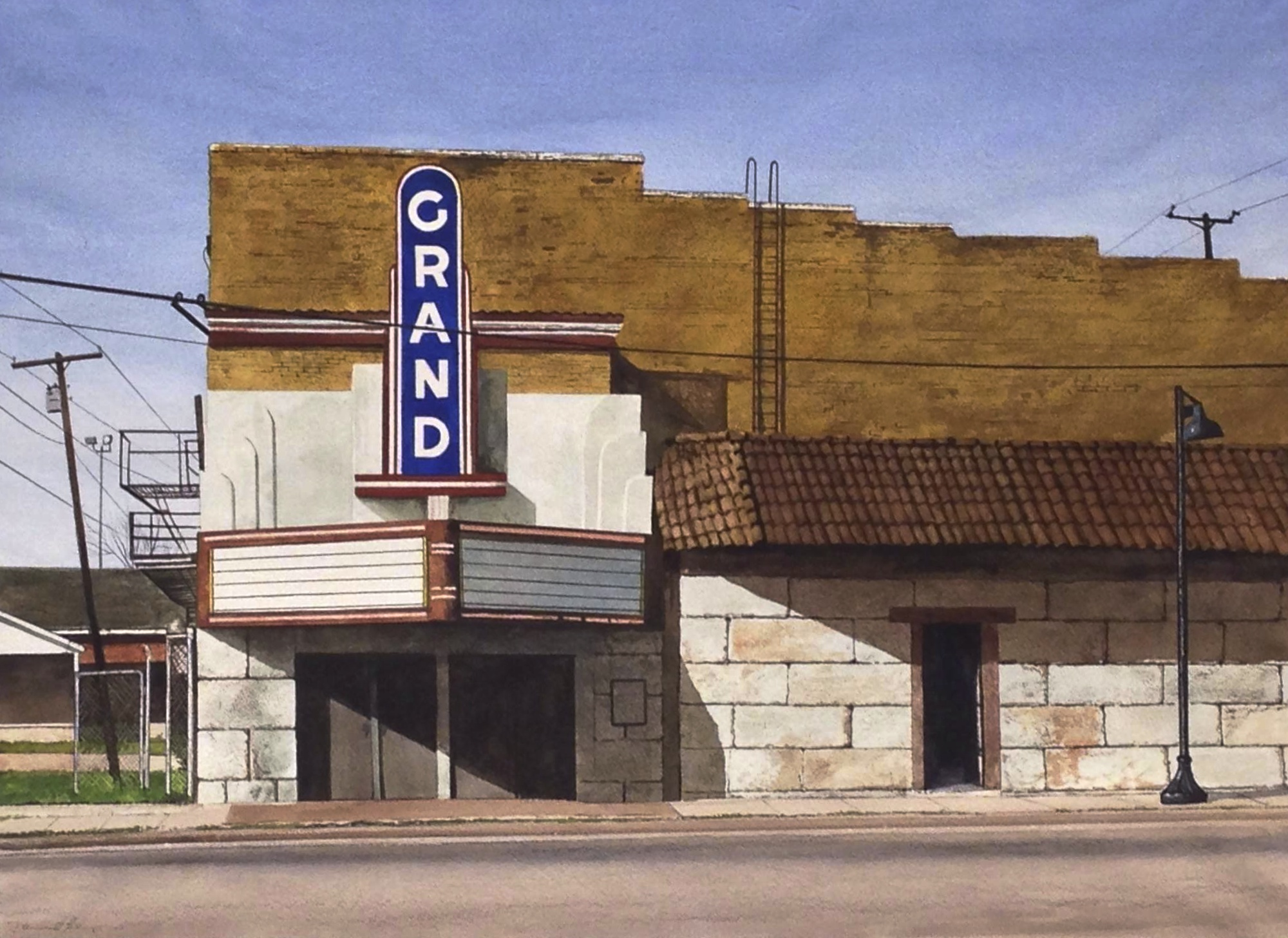 """Daniel Blagg,  The Grand  , w atercolor on paper,27 1/2 x 35"""". SOLD"""