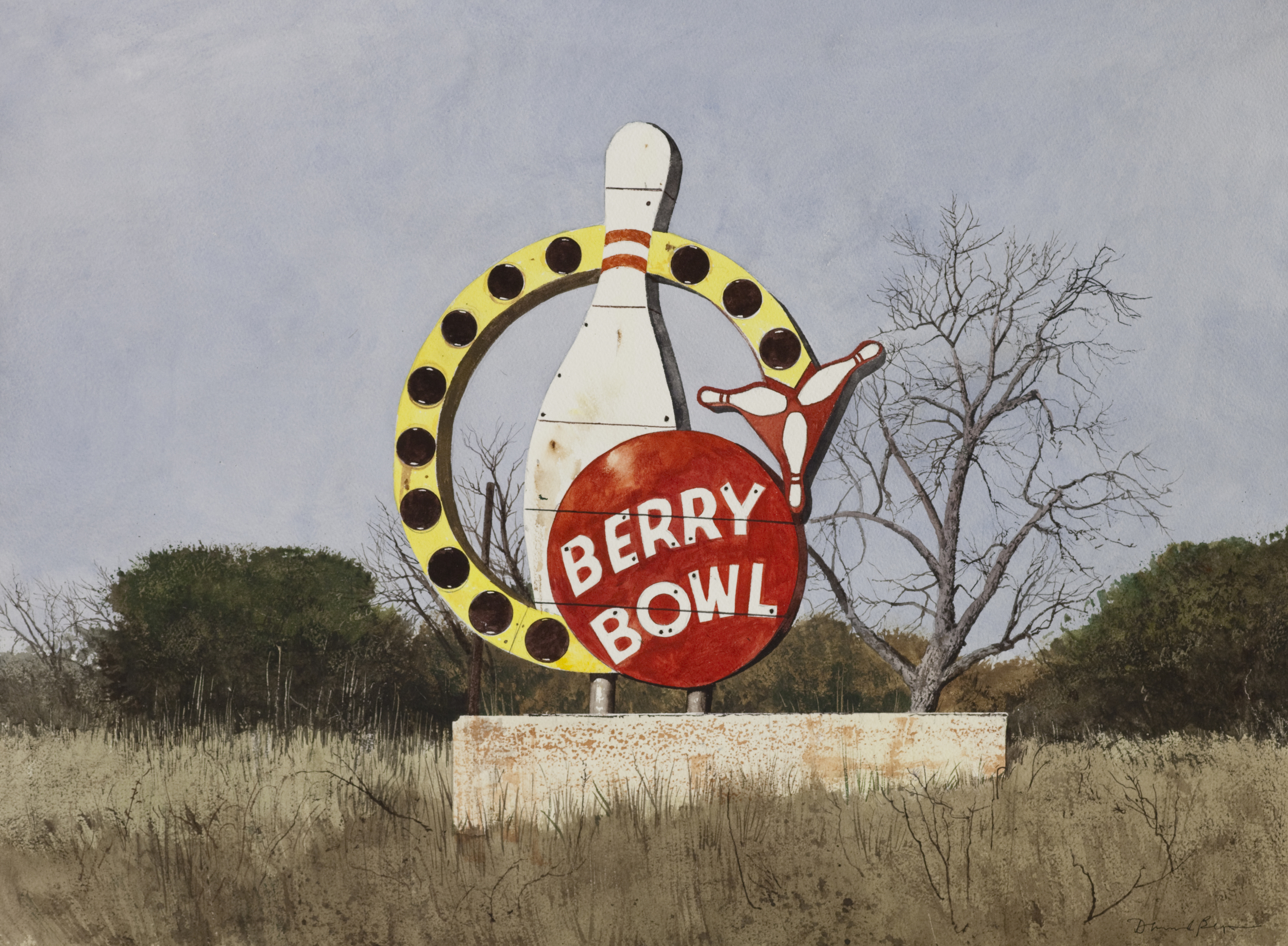 """Daniel Blagg, Berry Bowl, watercolor on paper, 27 1/2 x 35"""". SOLD."""