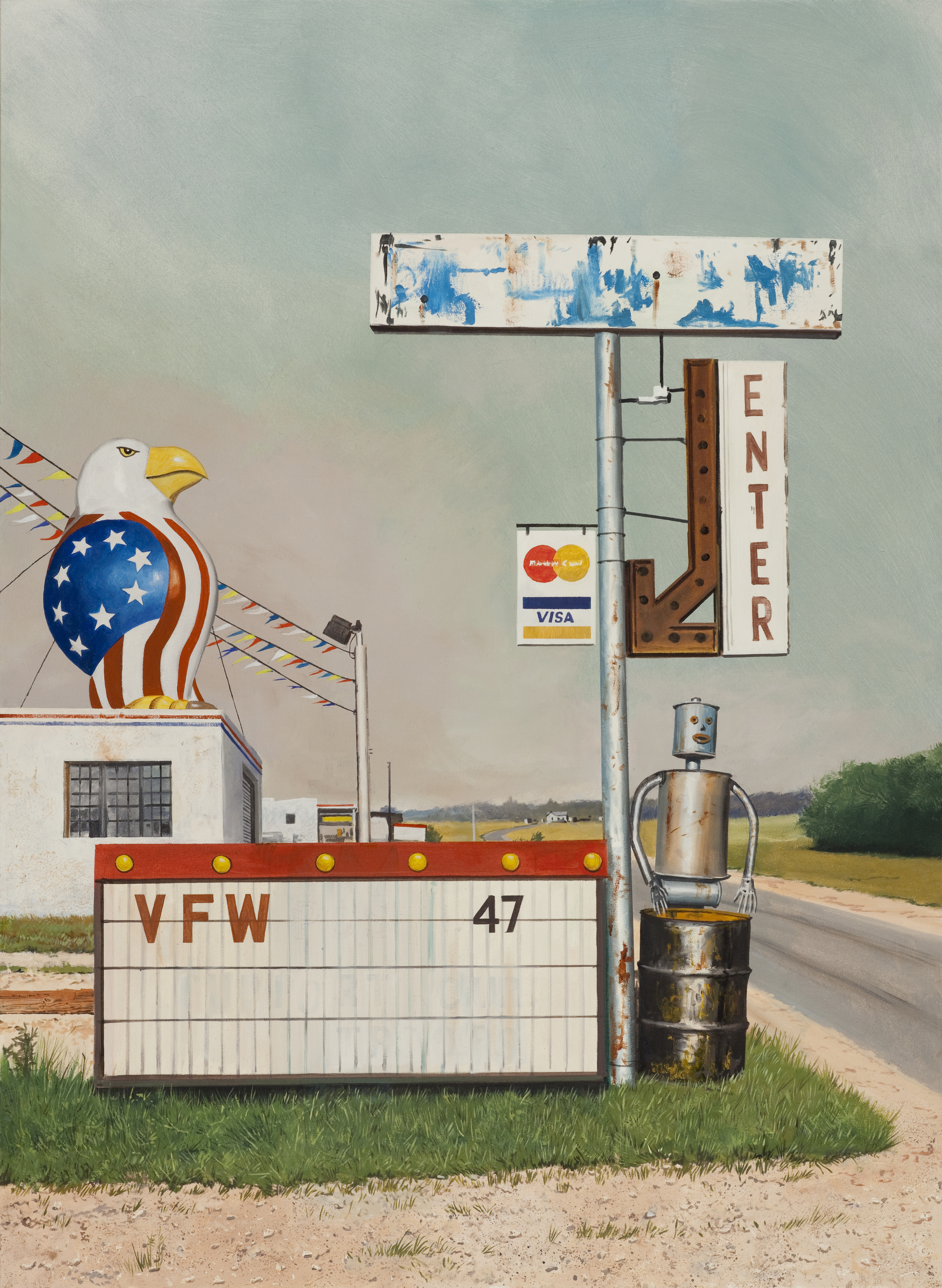 """Daniel Blagg, Home of the Brave , 2015, oil on canvas,52"""" X 38"""",SOLD."""