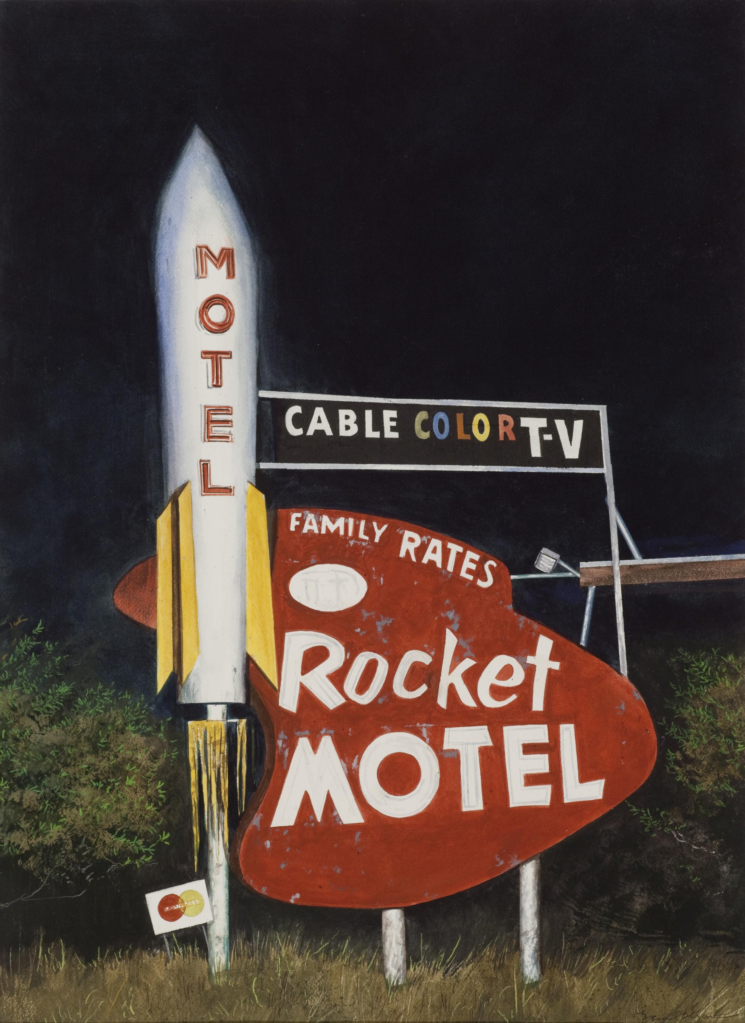 """Daniel Blagg, Rocket Motel , 2015, watercolor on paper, 35"""" X 28"""". SOLD"""