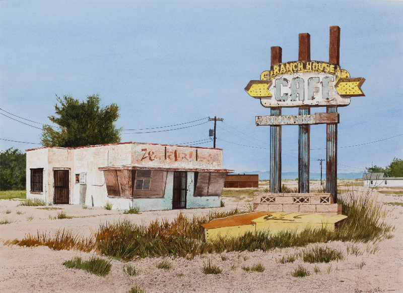 """Daniel Blagg,  Ranch House Cafe , 2015,watercolor on paper, 22 x 30"""". SOLD"""