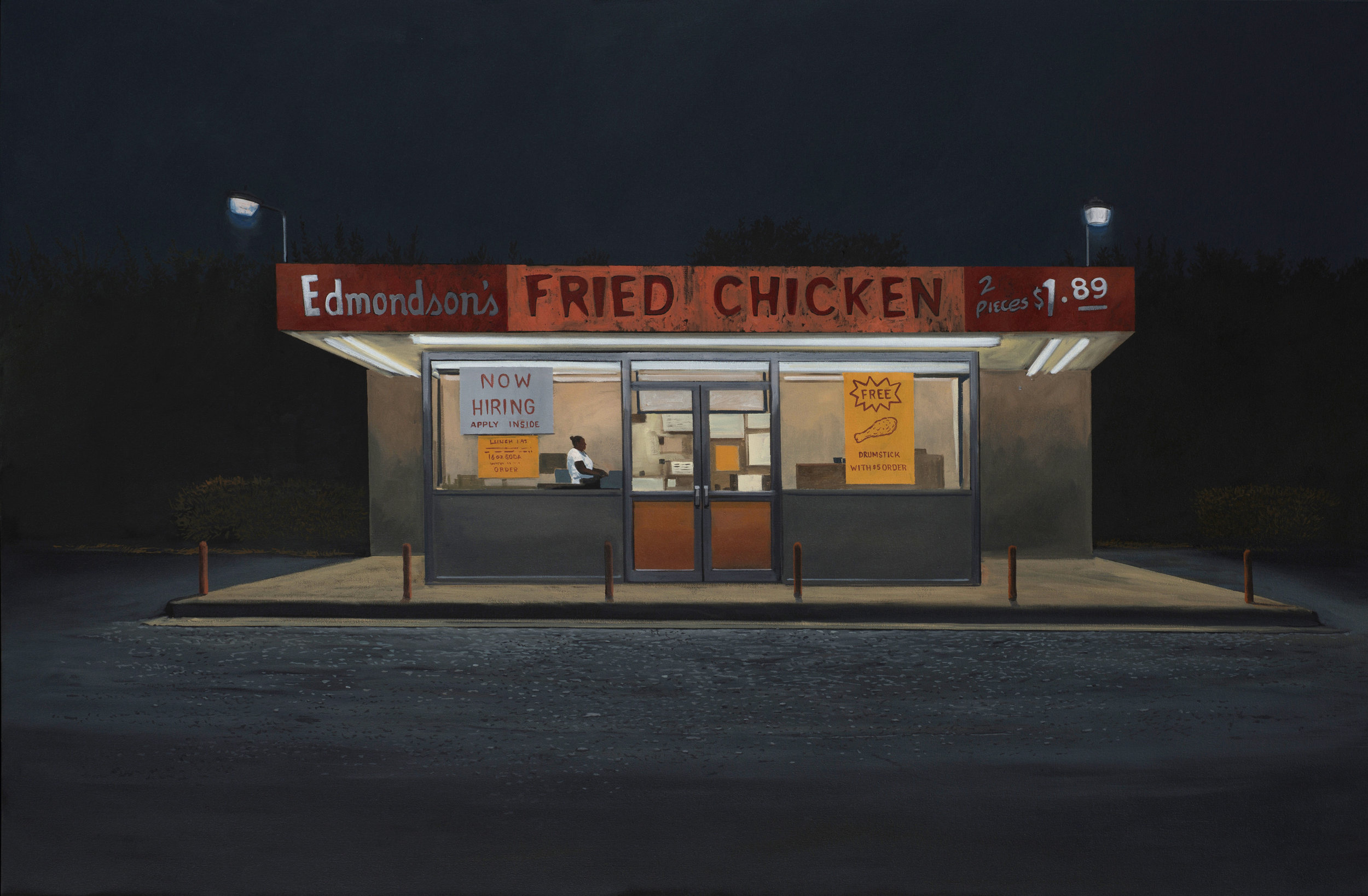 """Daniel Blagg, Fried Chicken , 2016, oil on canvas, 38 x 58"""".Contact Artspace111 to purchase."""