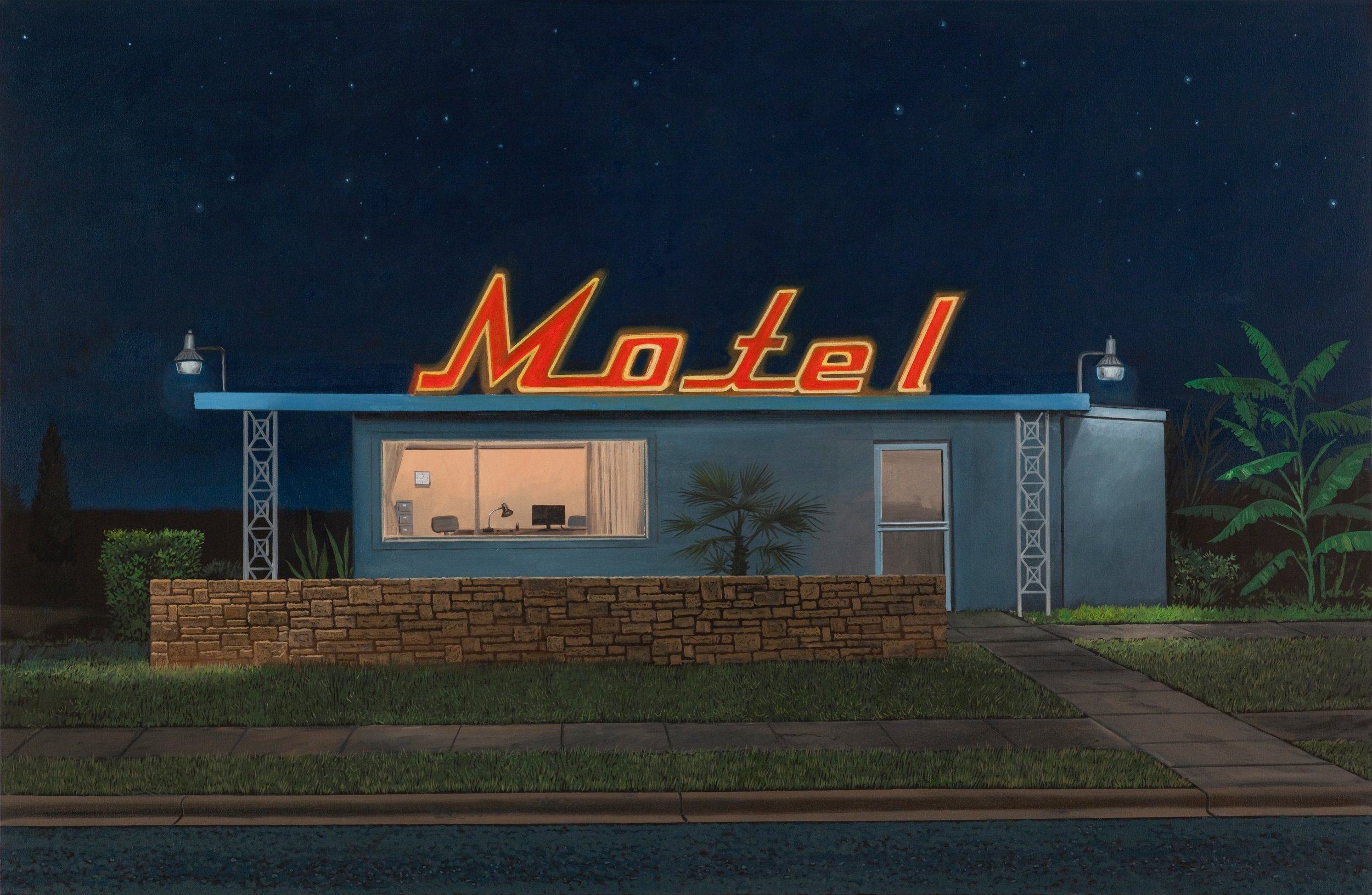 "Daniel Blagg,  Western   Motel , 2015, oil on canvas, 38"" X 58"". Private Collection."