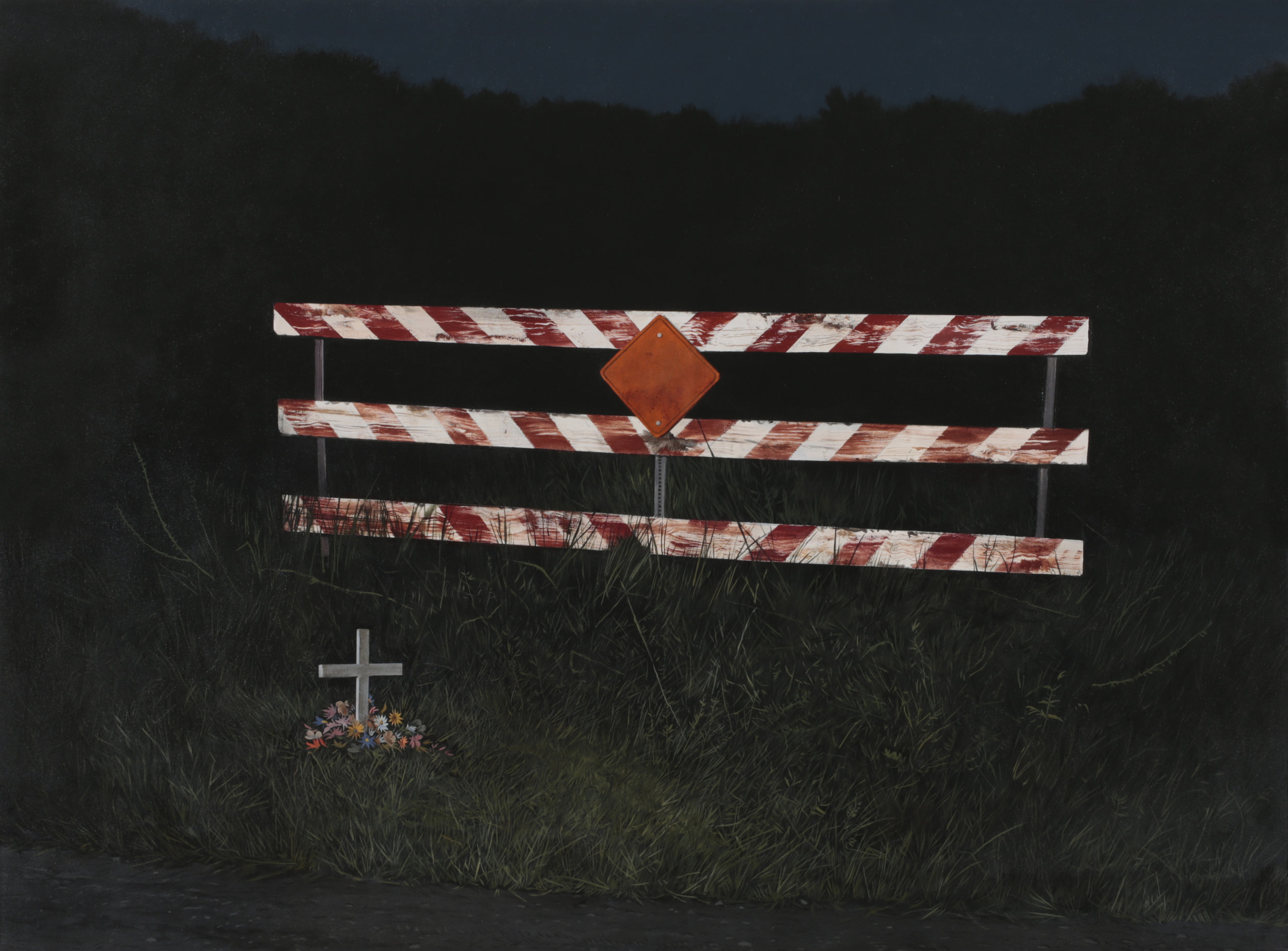 """Daniel Blagg, Dead End,  2017, oil on canvas, 58 x 88"""". Contact Artspace111 to purchase."""