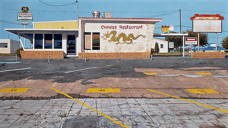 Daniel Blagg,  Chinese Restaurant #1,  2004, oil on canvas, 48 x 80""