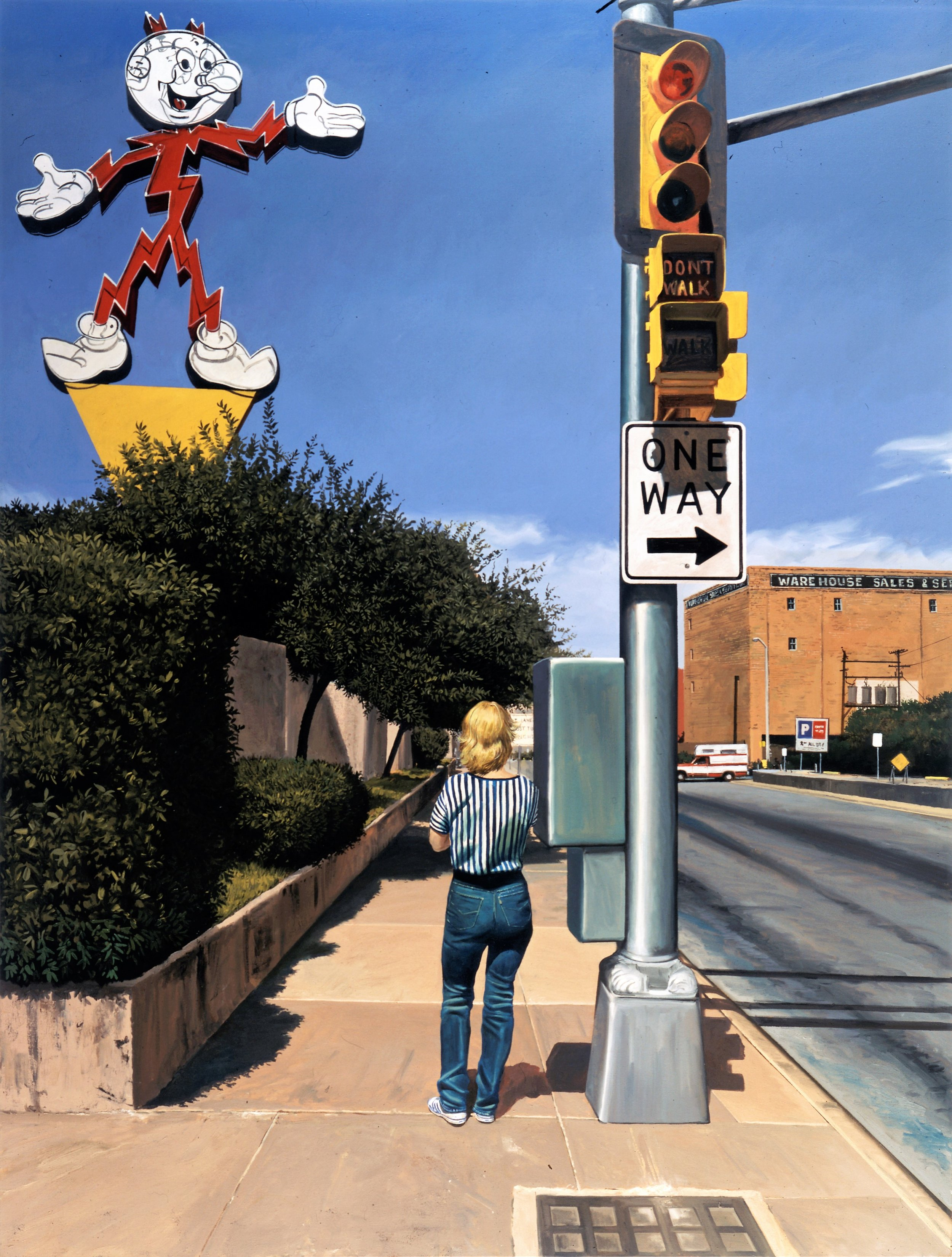 Daniel Blagg,  Bus Stop #1,  1996, oil on canvas, 80 x 60""