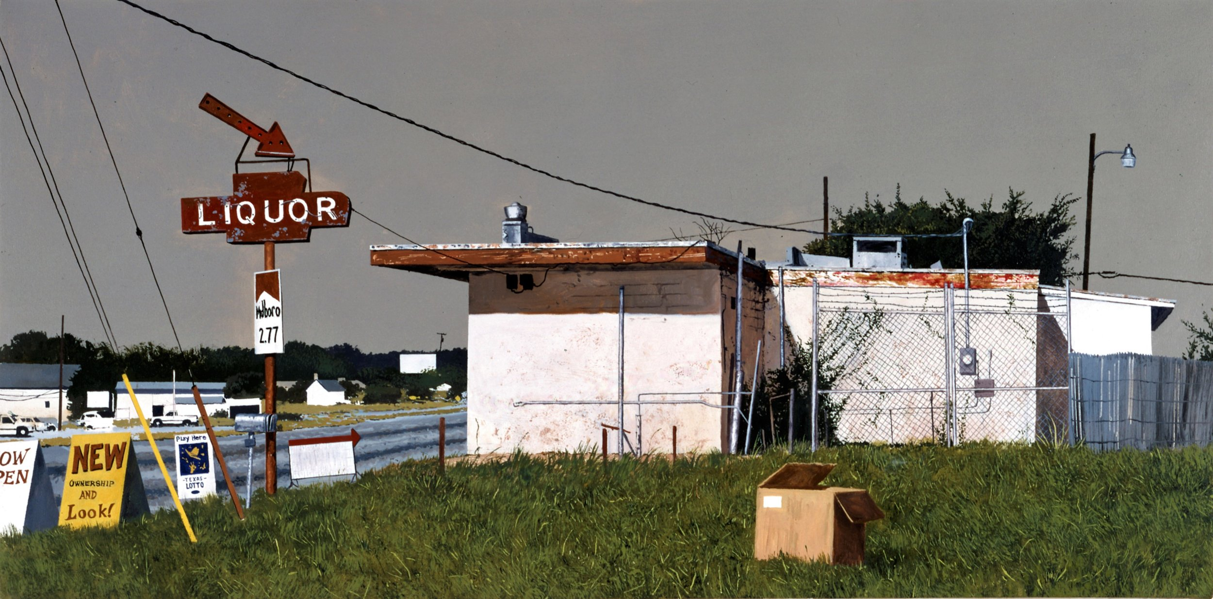 Daniel Blagg,  Liquor Store,  2004, oil on canvas, 36 x 60""