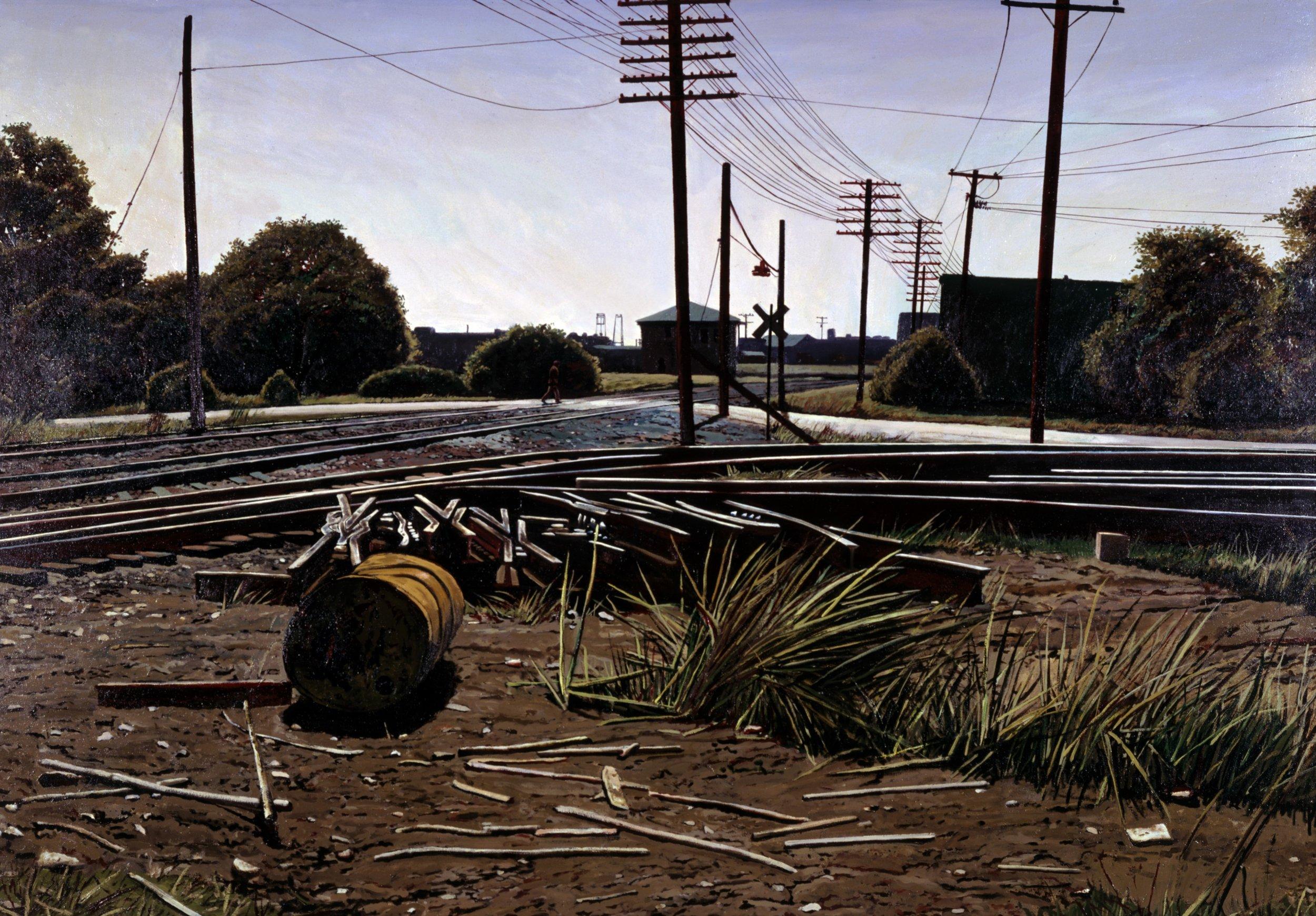 "Daniel Blagg, Figure in Landscape,  1980, oil on canvas, 62 x 84"""