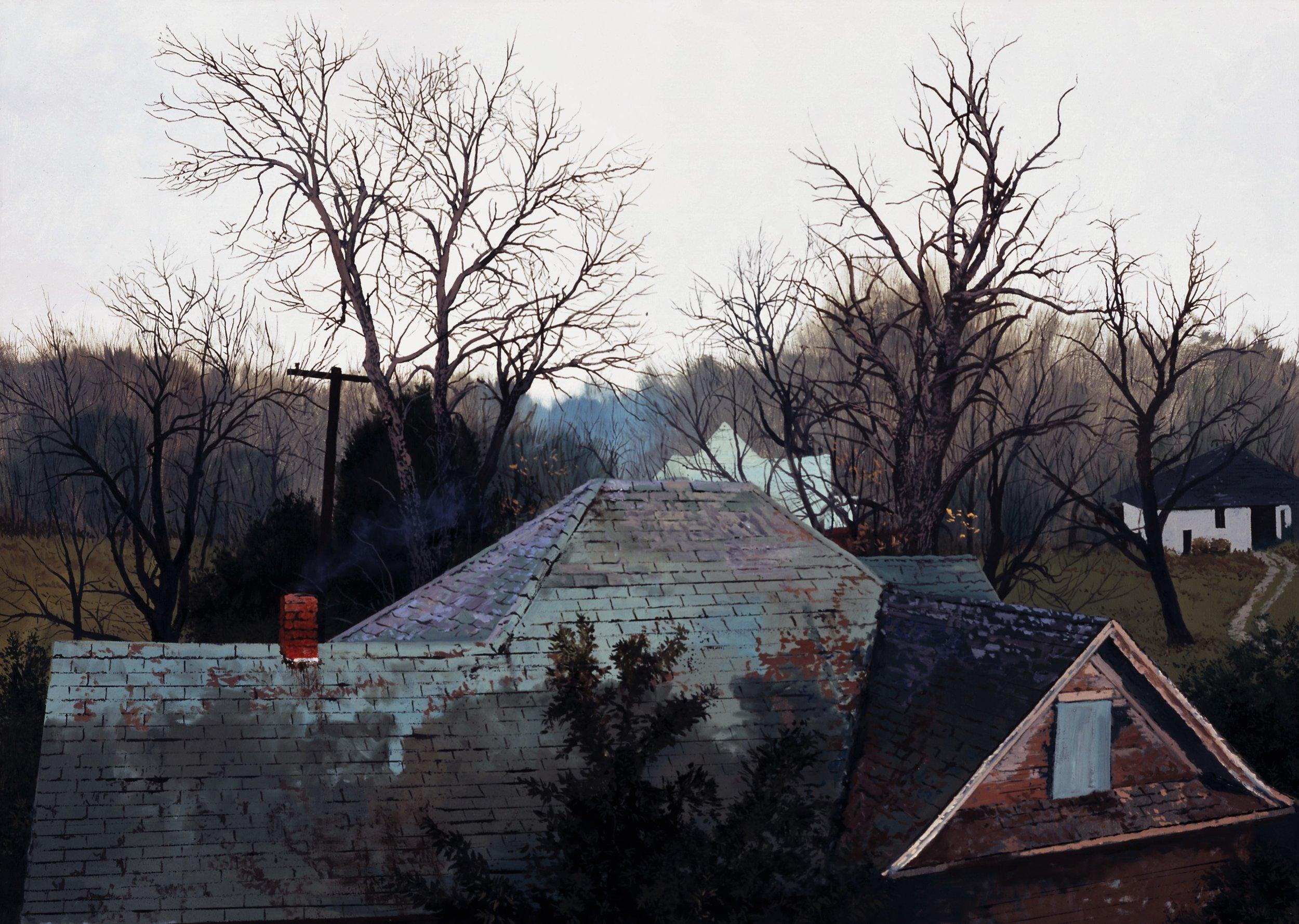 """Daniel Blagg, Blue Smoke , 2011, oil on canvas, 36 x 48"""""""