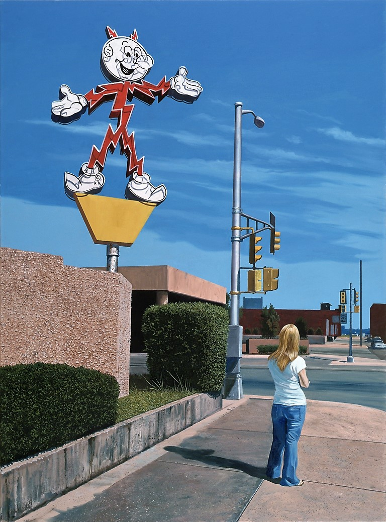 """Daniel Blagg,  Bus Stop , oil on canvas, 60 x 48"""" $15,000. Contact Artspace111 to purchase."""