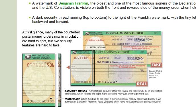 Postal Money Order Fraud Imagelight