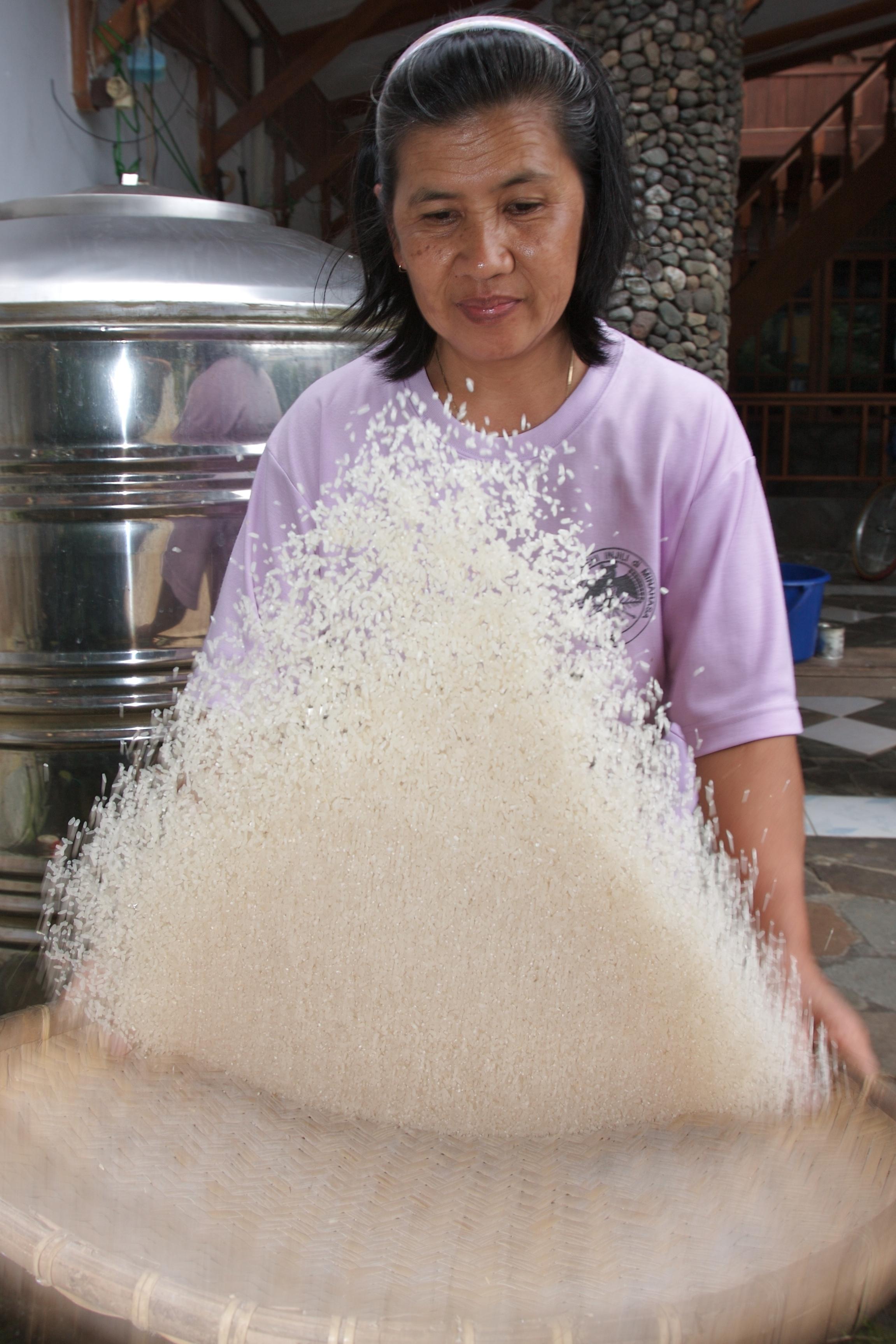 Winnowing rice