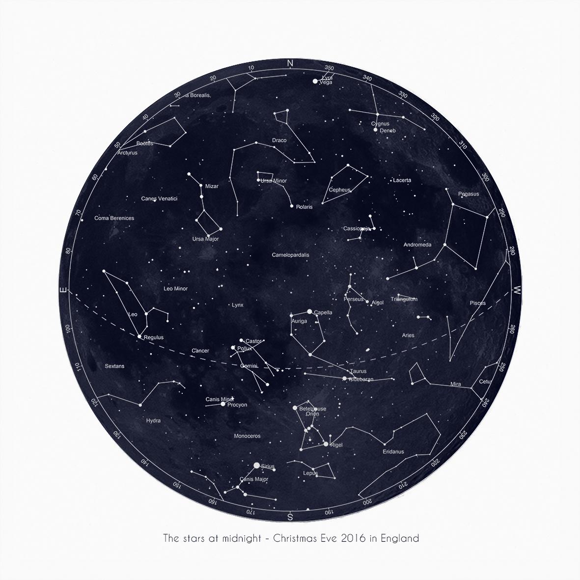 Christmas eve star map 2016